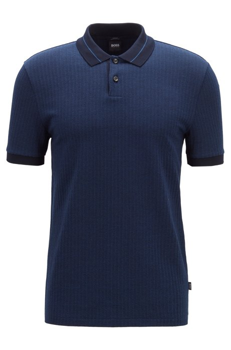 Slim-fit polo shirt in micro-pattern striped jacquard, Dark Blue