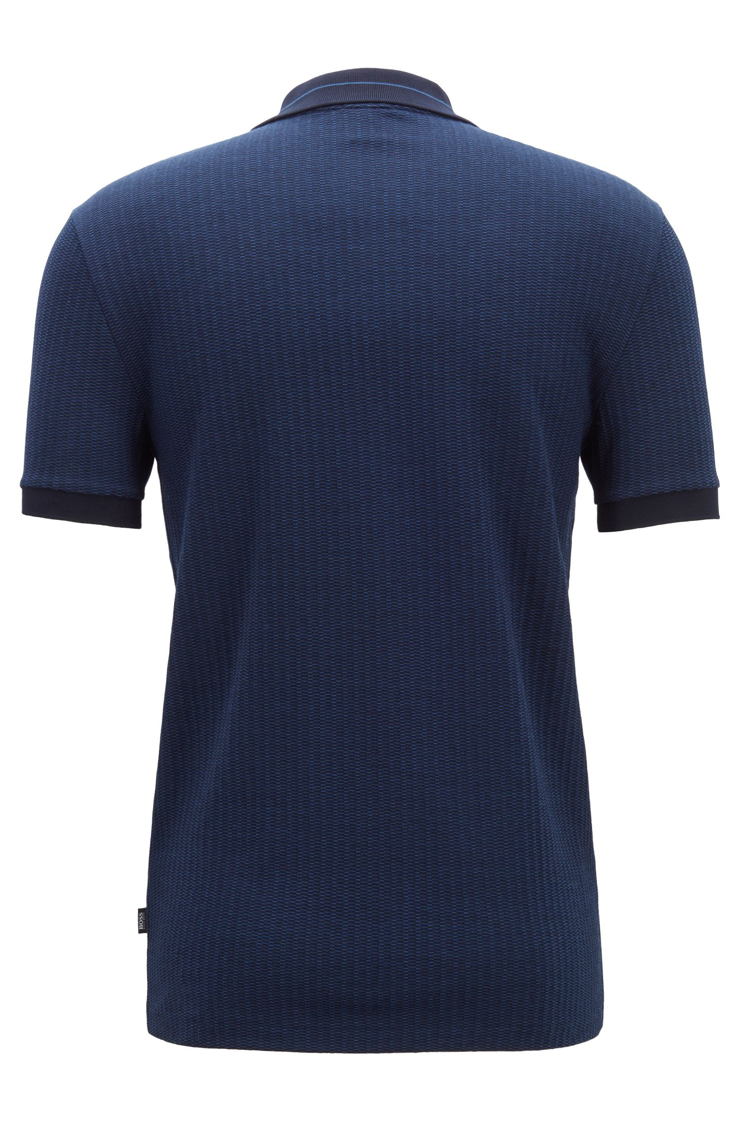 Fein gemustertes Slim-Fit Poloshirt aus Jacquard mit Streifen-Struktur, Dunkelblau