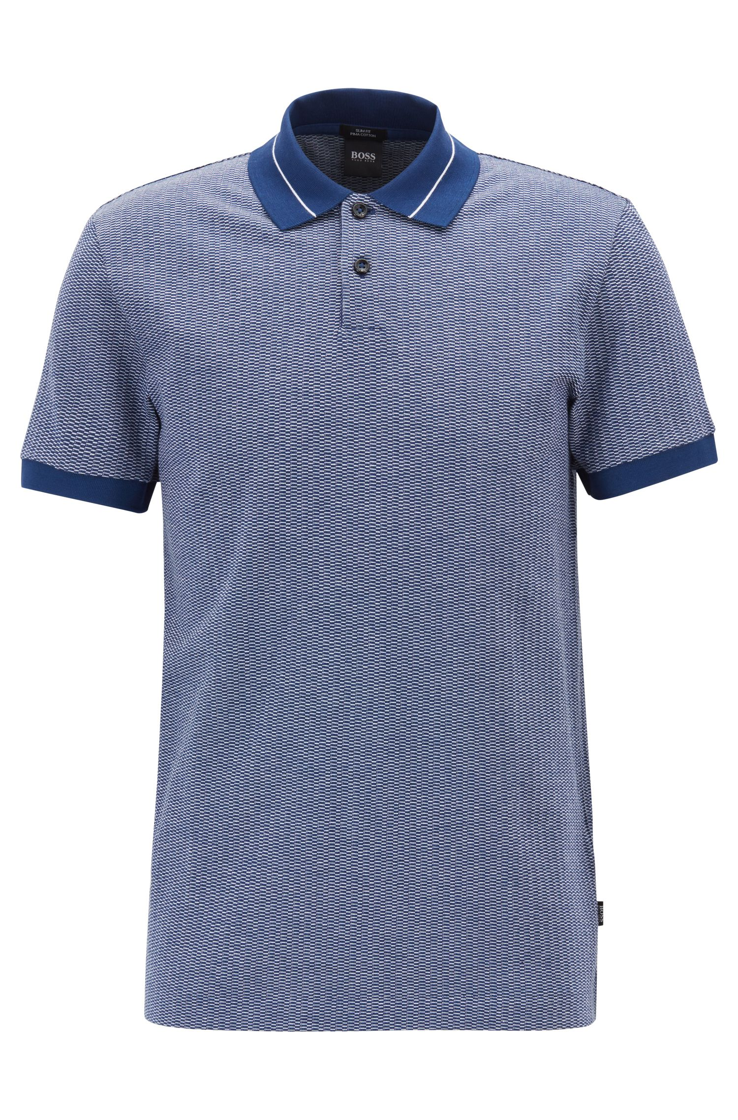 Polo Slim Fit en jacquard à micromotif façon rayures, Bleu