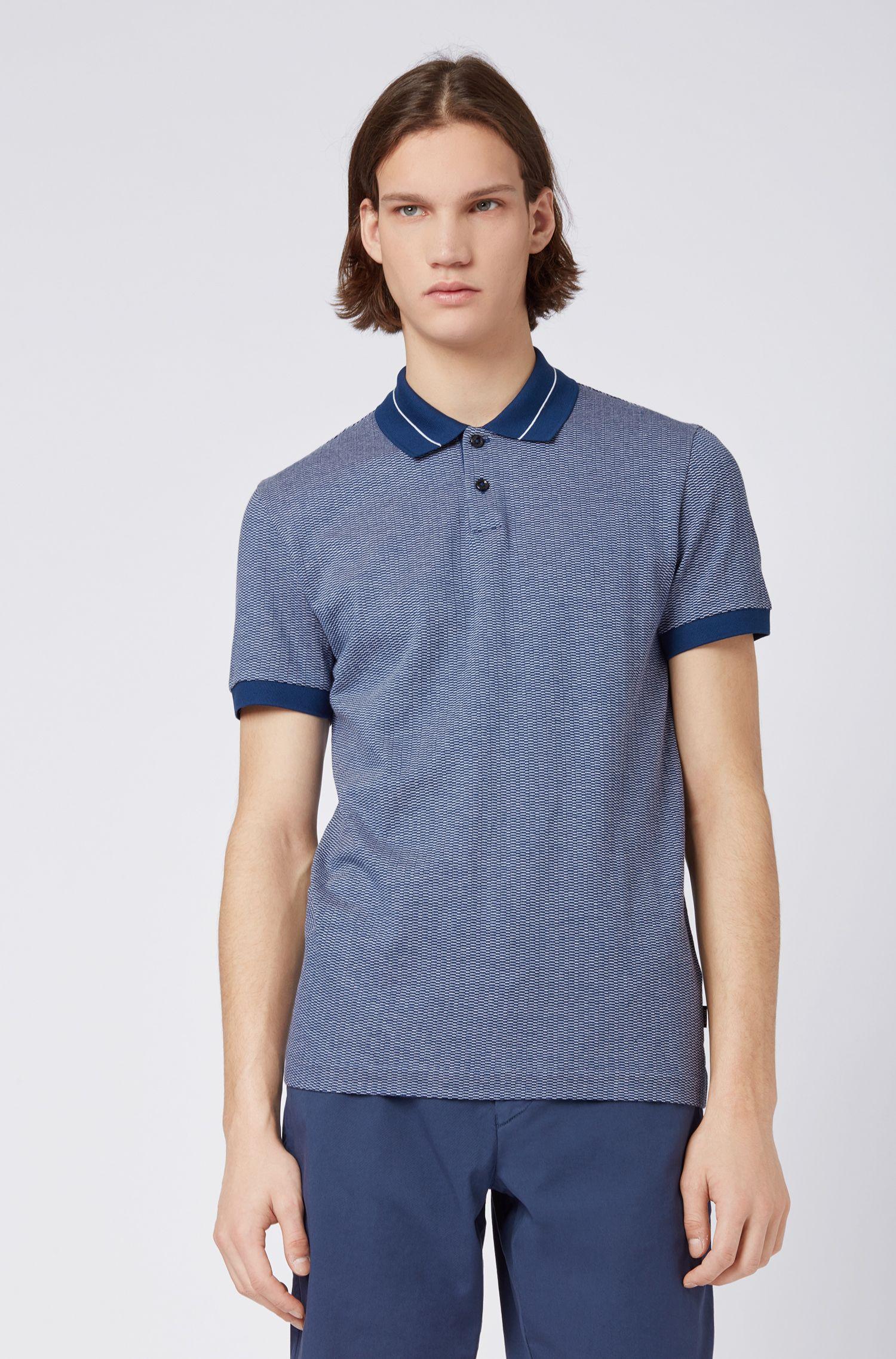 Fein gemustertes Slim-Fit Poloshirt aus Jacquard mit Streifen-Struktur, Blau