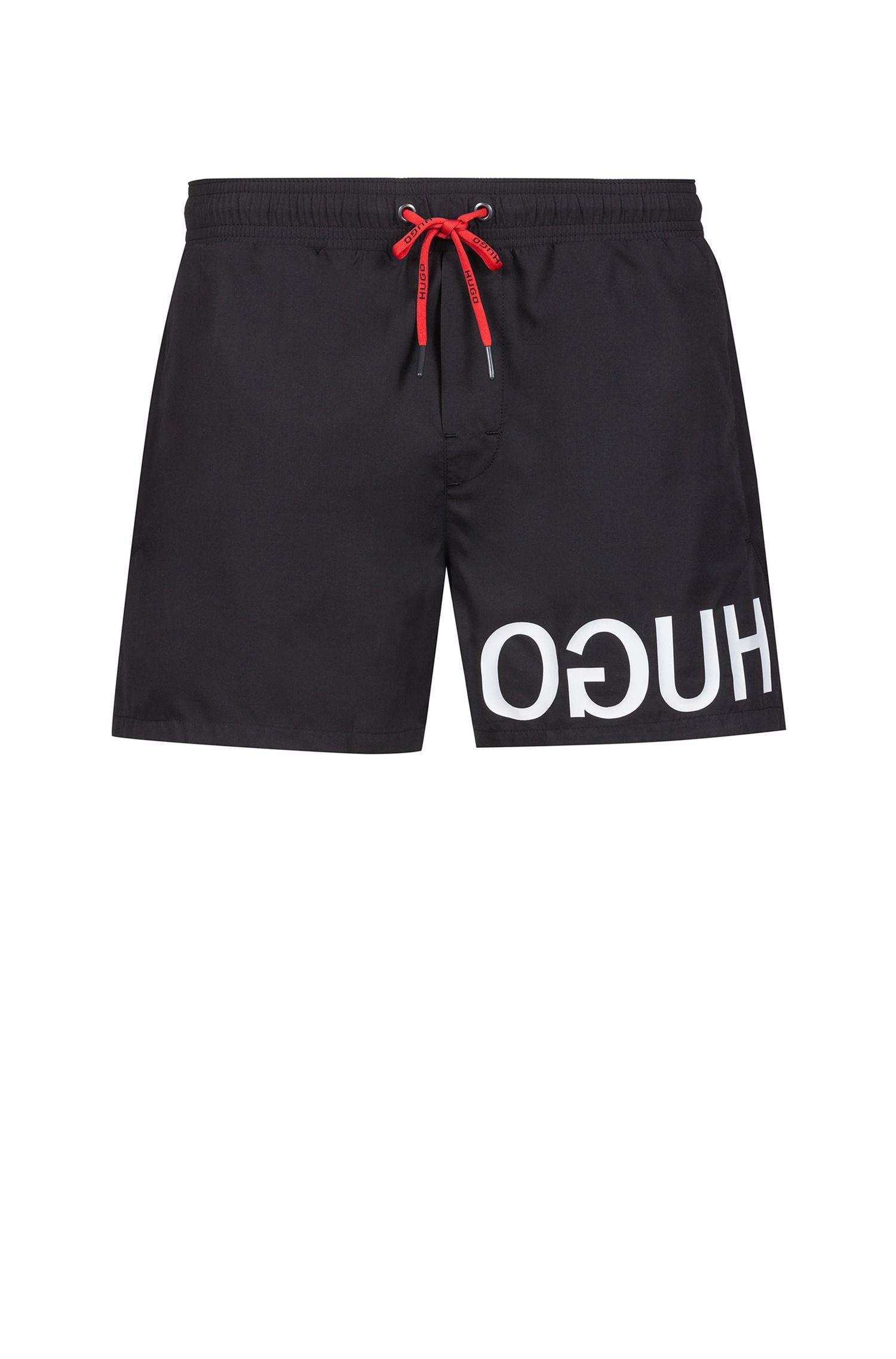 Quick-dry swim shorts with reverse-logo print, Black