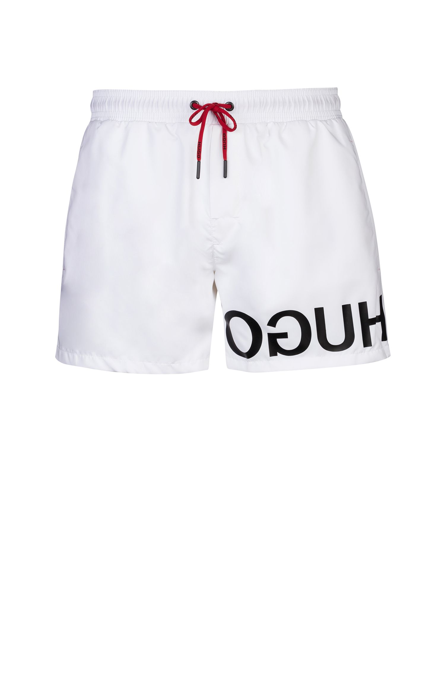 Schnelltrocknende Badeshorts mit Reversed-Logo, Weiß