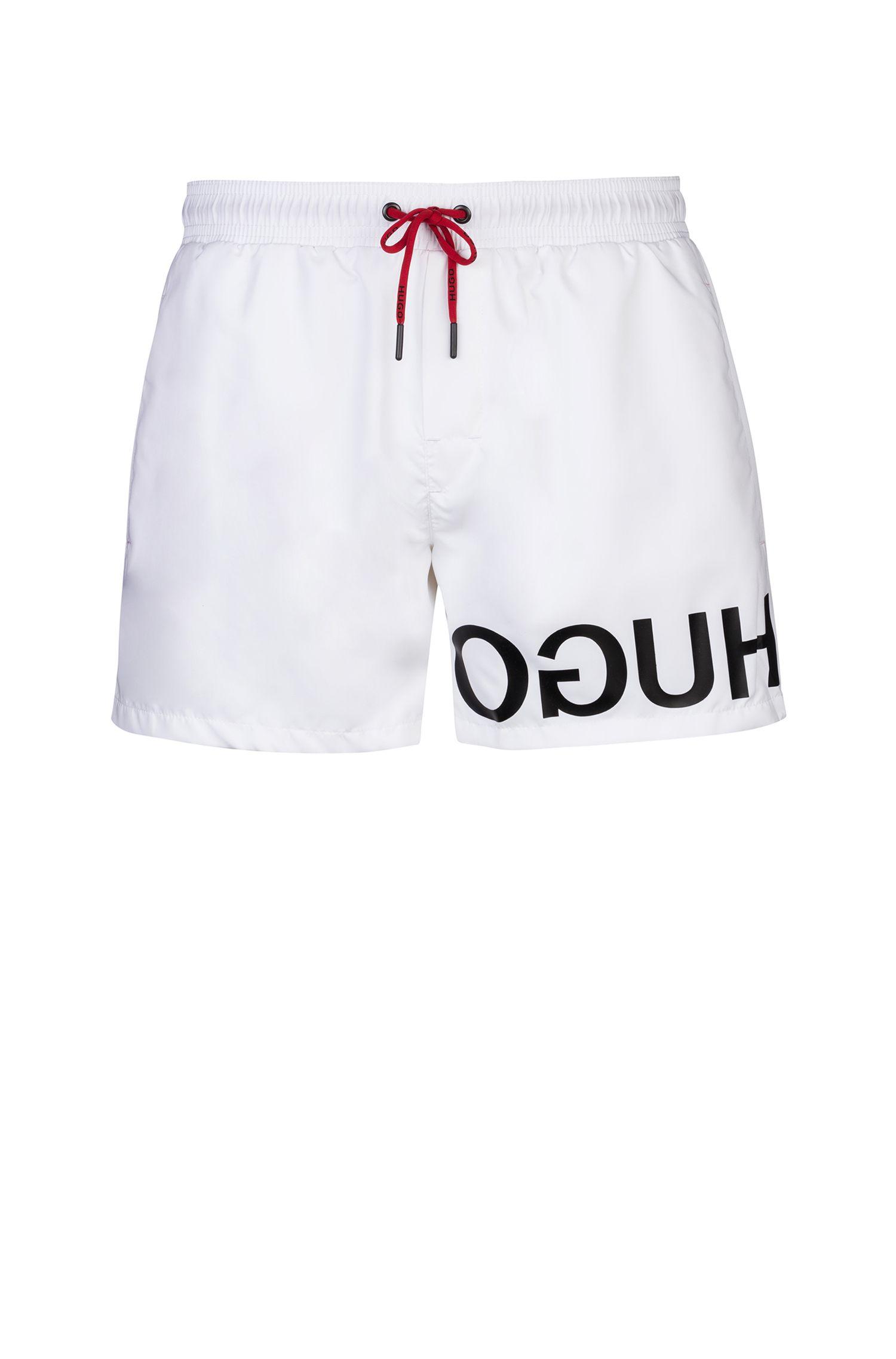 Boxer da bagno ad asciugatura rapida con logo a rovescio stampato, Bianco