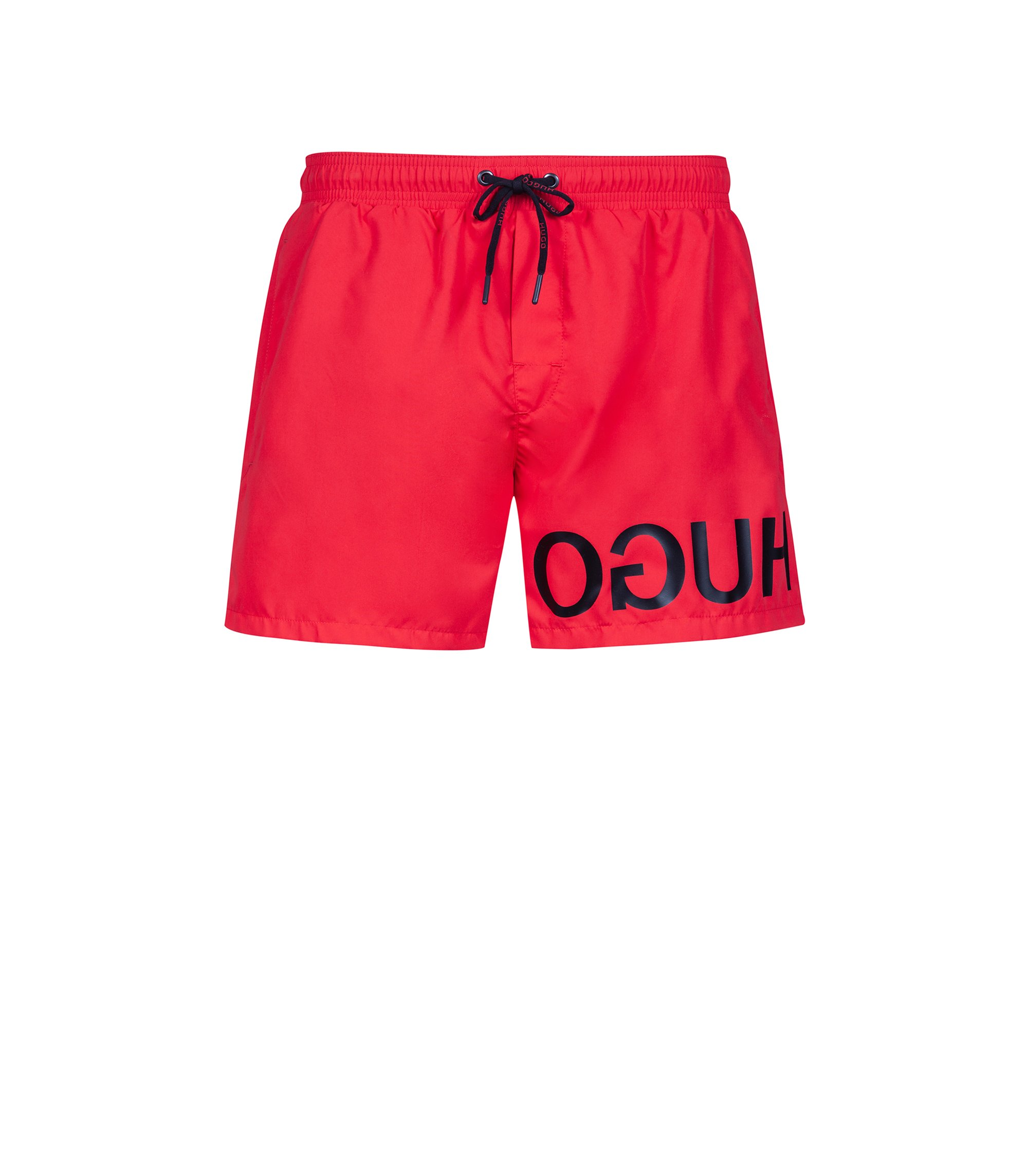 Quick-dry swim shorts with reverse-logo print, Red