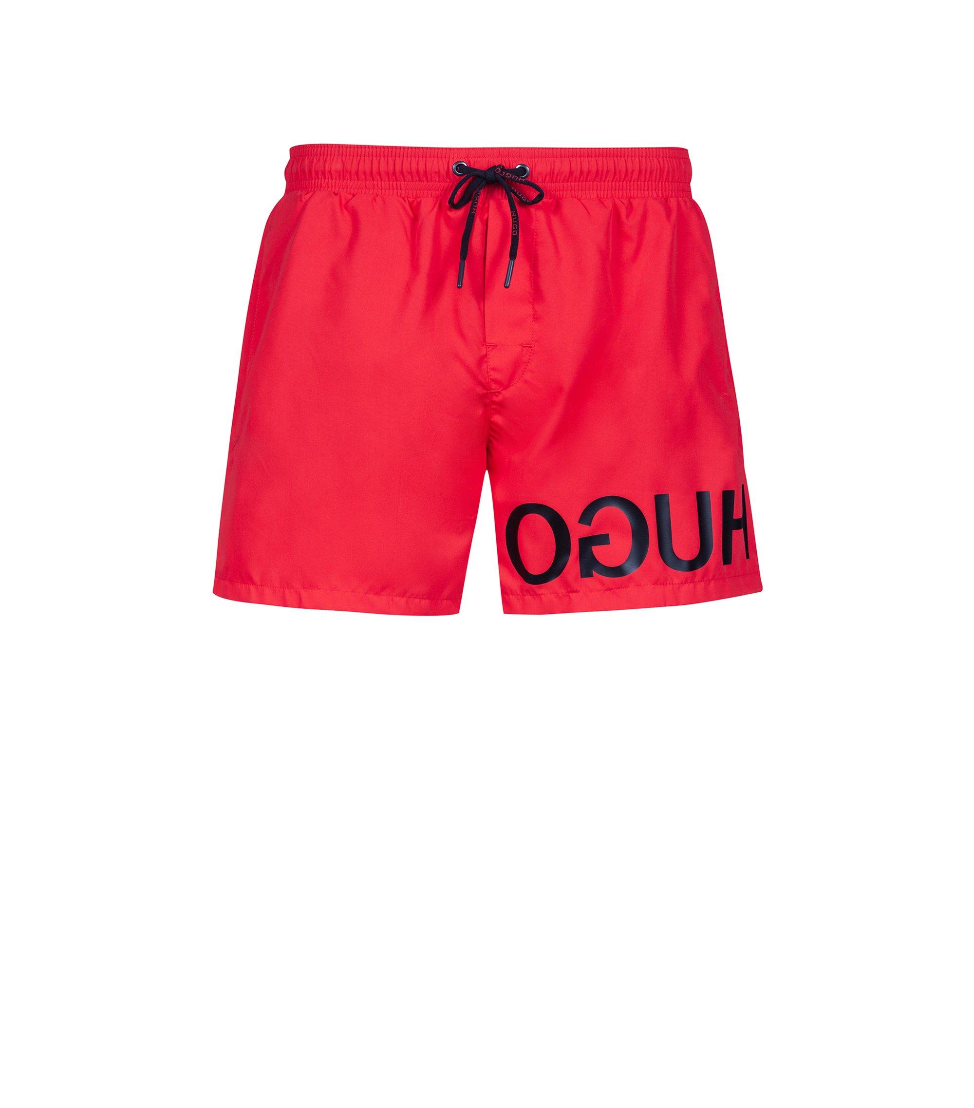Boxer da bagno ad asciugatura rapida con logo a rovescio stampato, Rosso