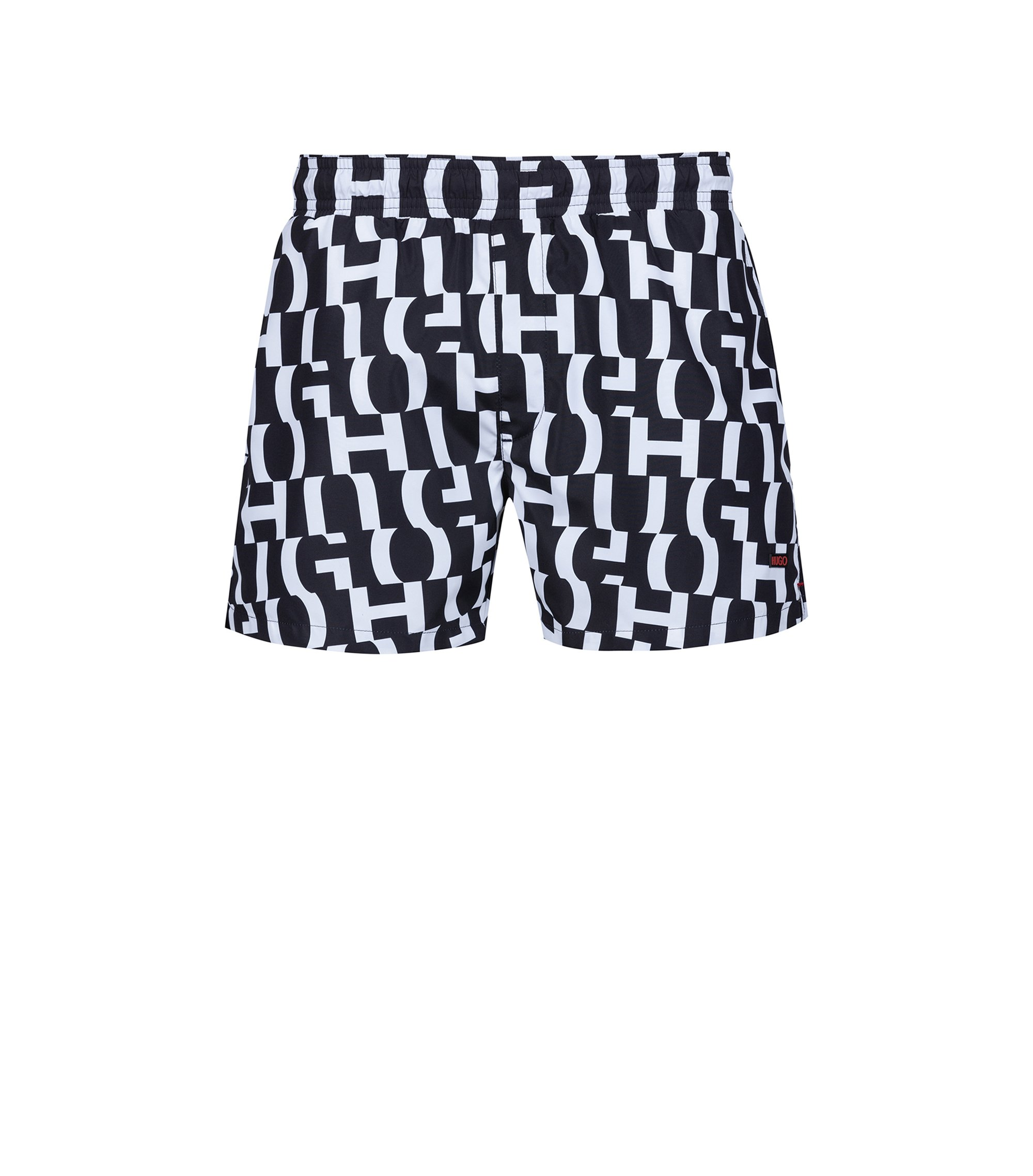 Quick-drying swim shorts in printed technical fabric, Noir