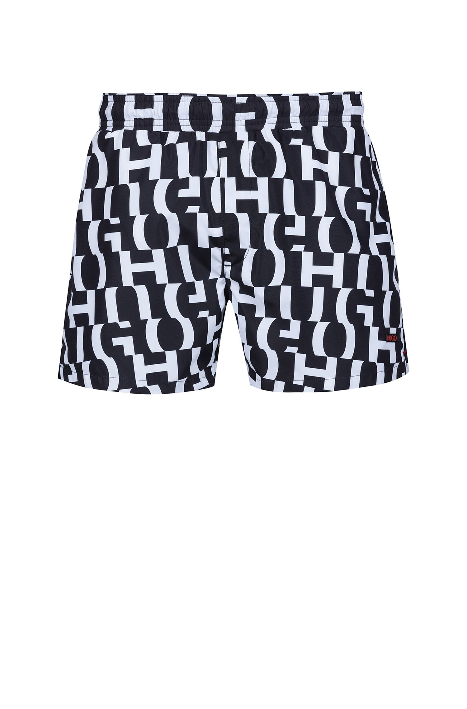 Quick-drying swim shorts in printed technical fabric, Black
