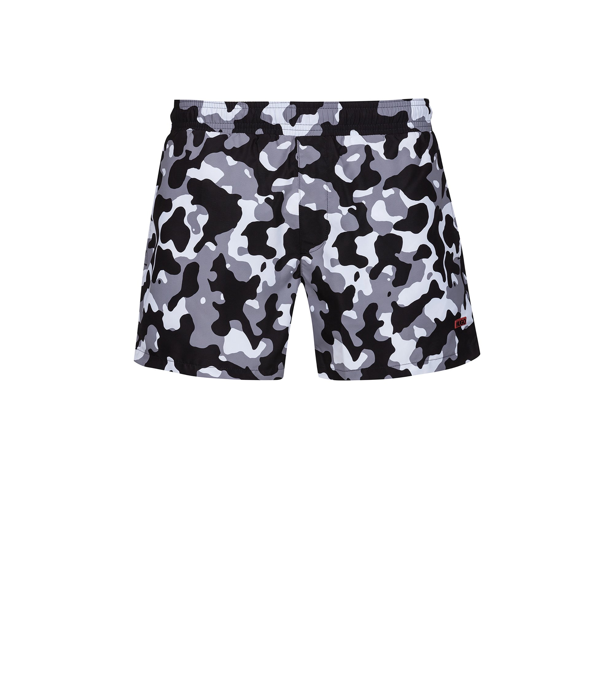 Quick-drying swim shorts in printed technical fabric, Gris