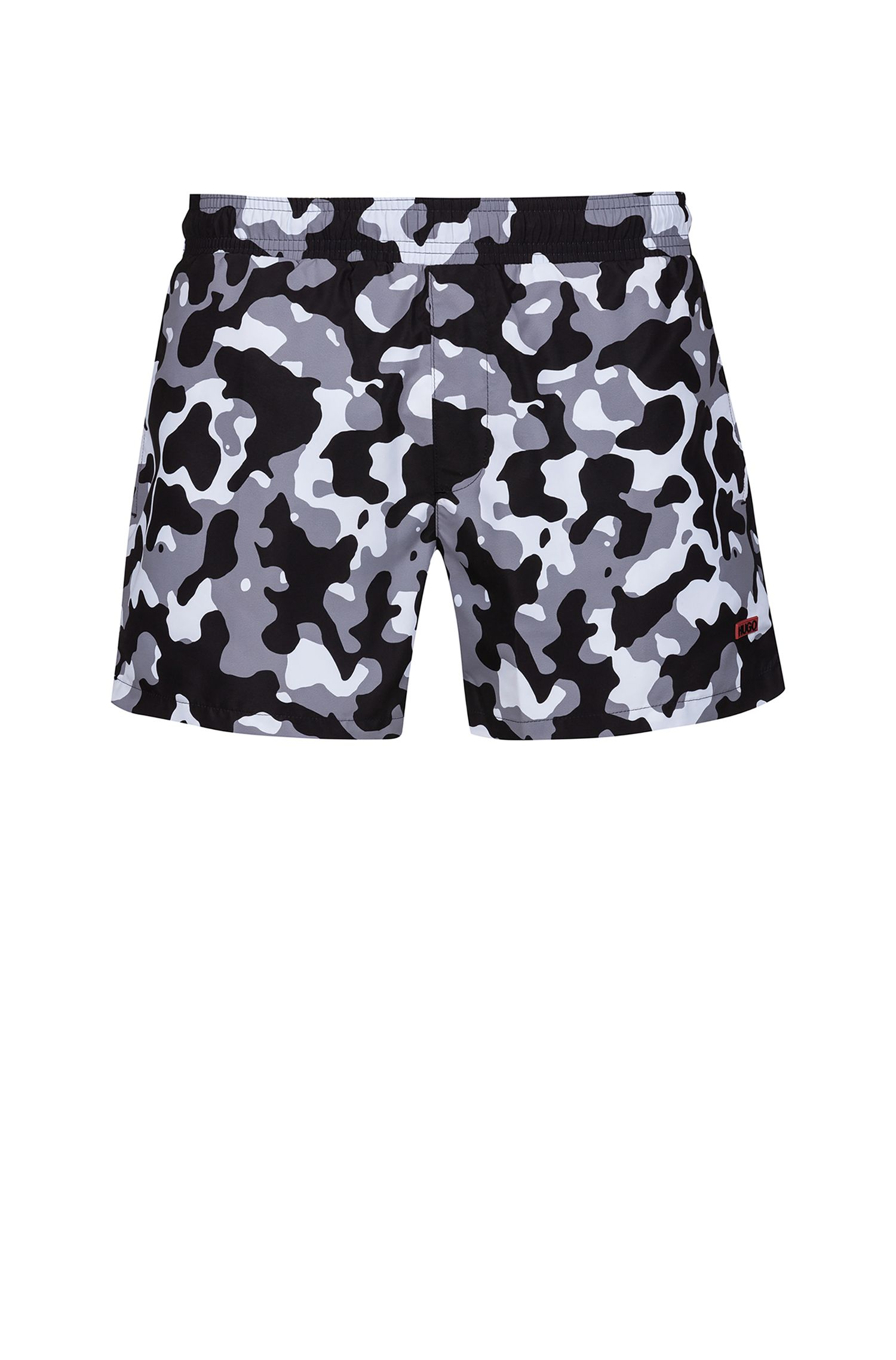 Quick-drying swim shorts in printed technical fabric, Grey