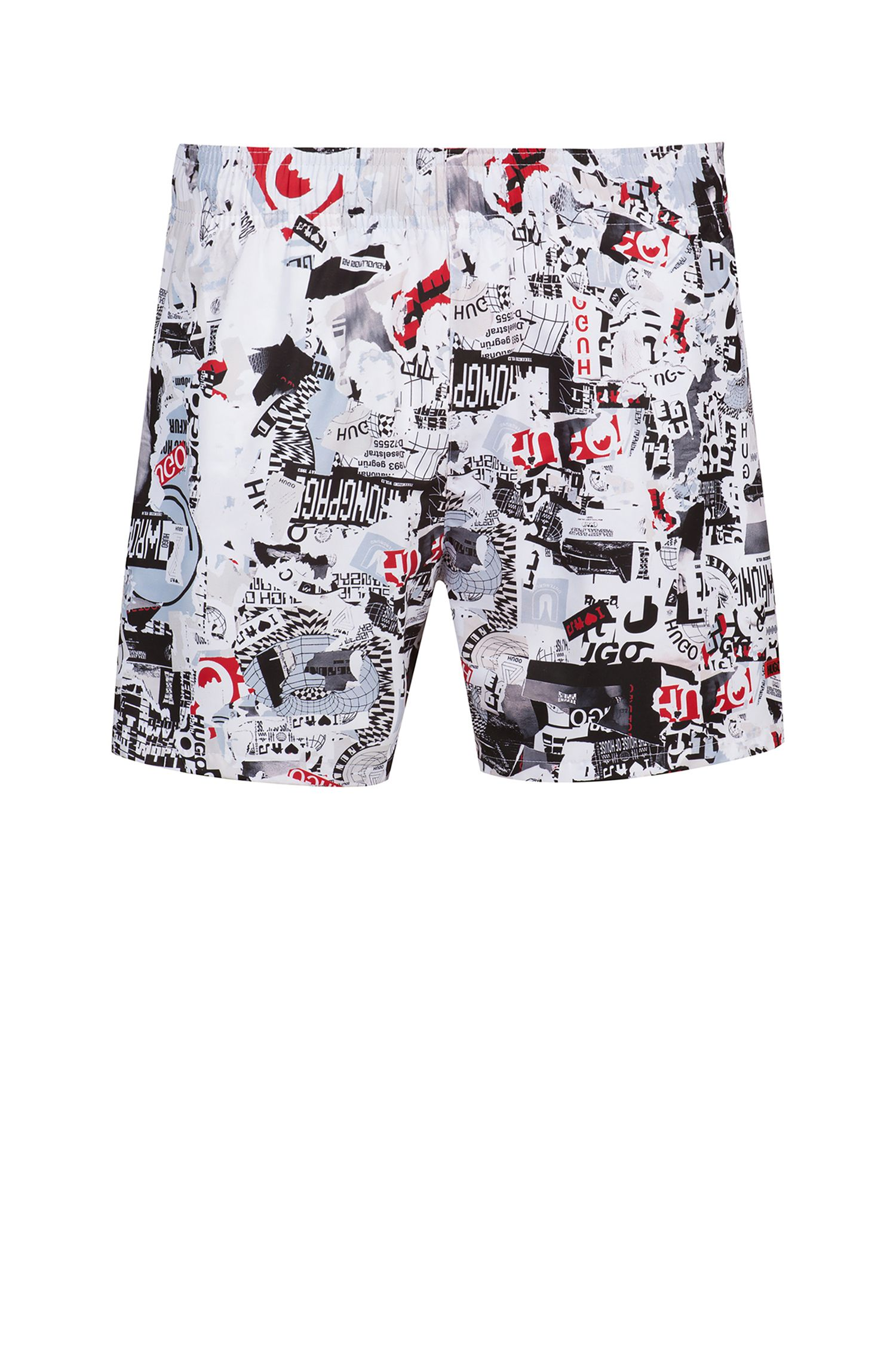 Quick-drying swim shorts in printed technical fabric, Patterned