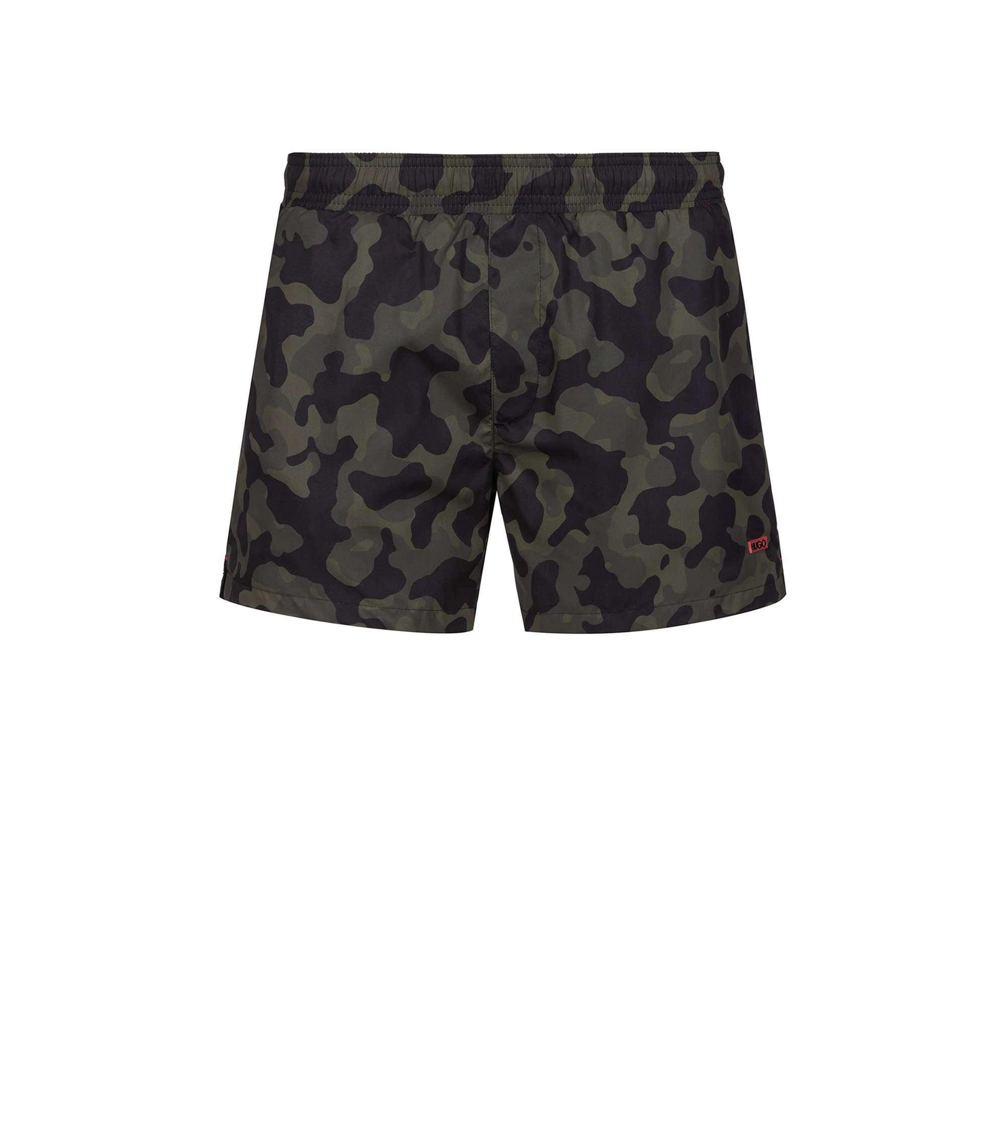 Quick-drying swim shorts in printed technical fabric, Vert sombre