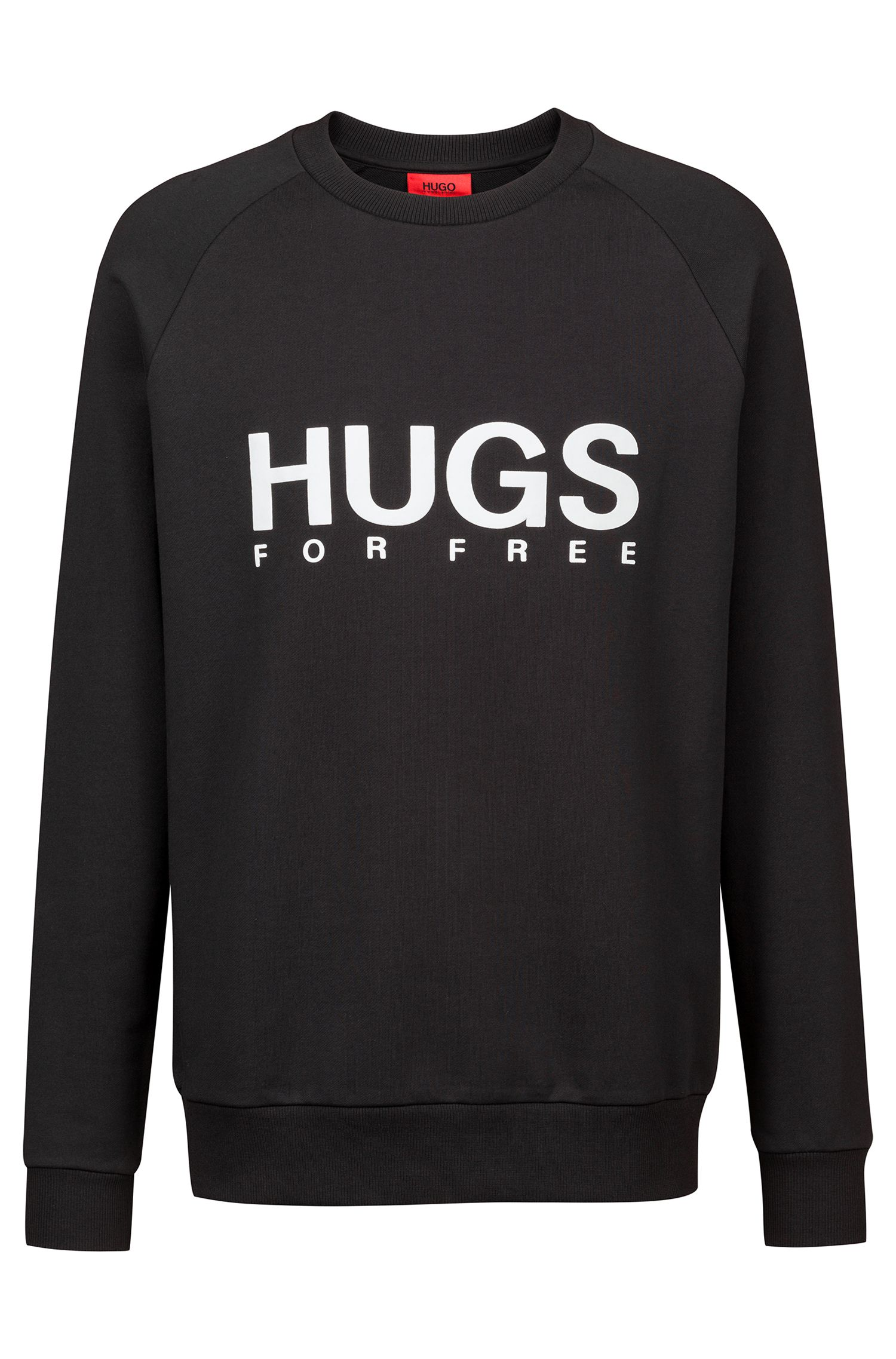 Oversized Sweatshirt aus French Terry mit Slogan, Schwarz
