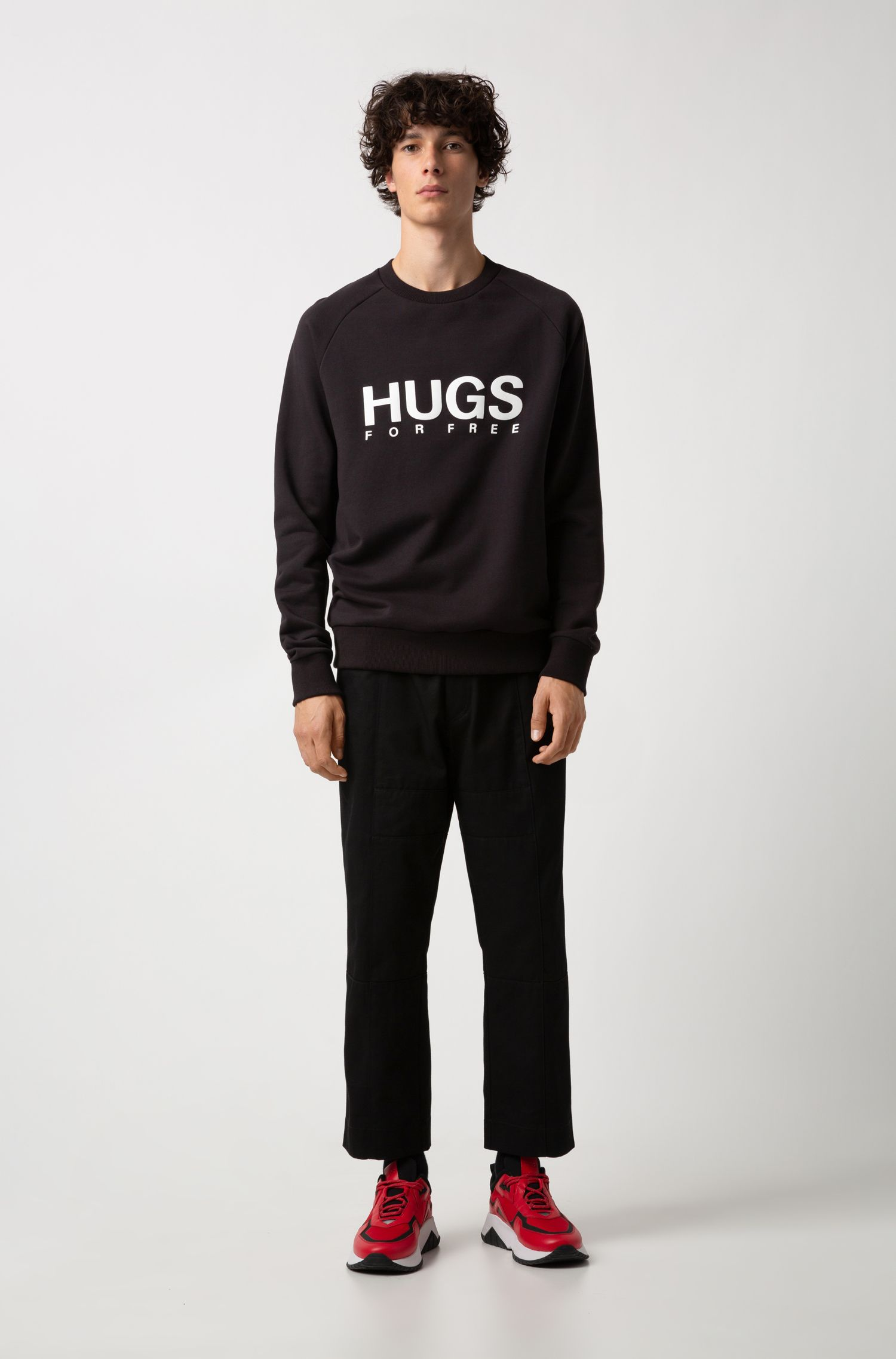 Oversized-fit slogan sweatshirt in French terry, Black