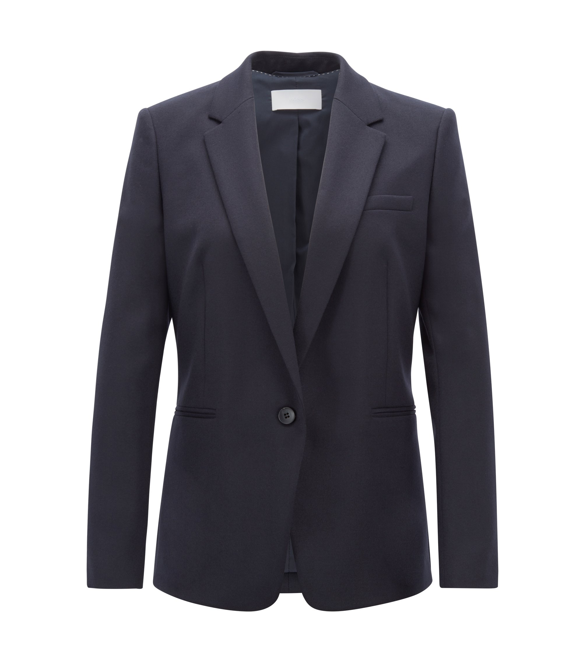 Blazer Regular Fit en laine vierge stretch, Bleu