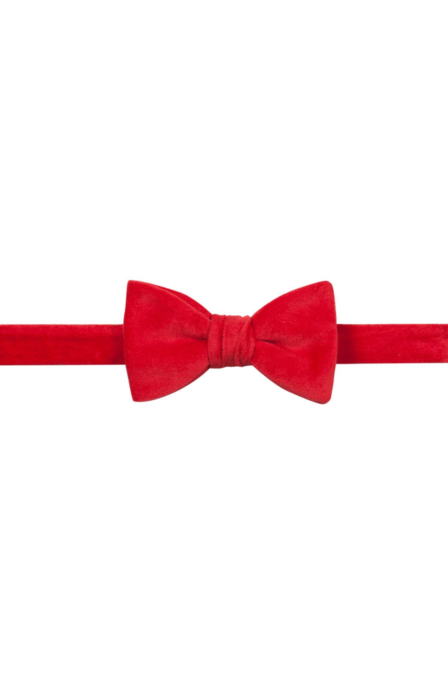Pre-tied bow tie in velvet, Red