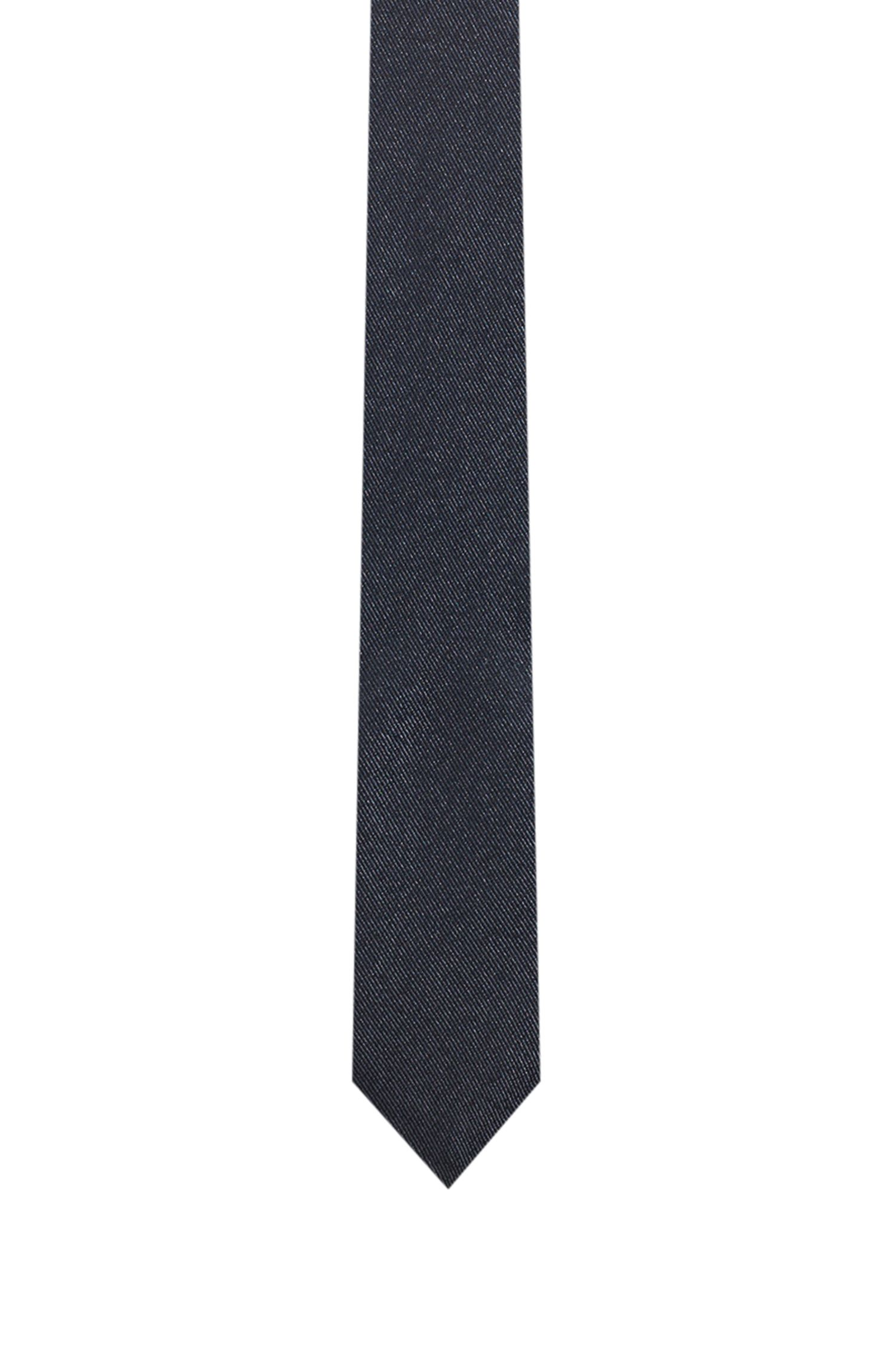 Silk-blend tie with QR-code motif, Black