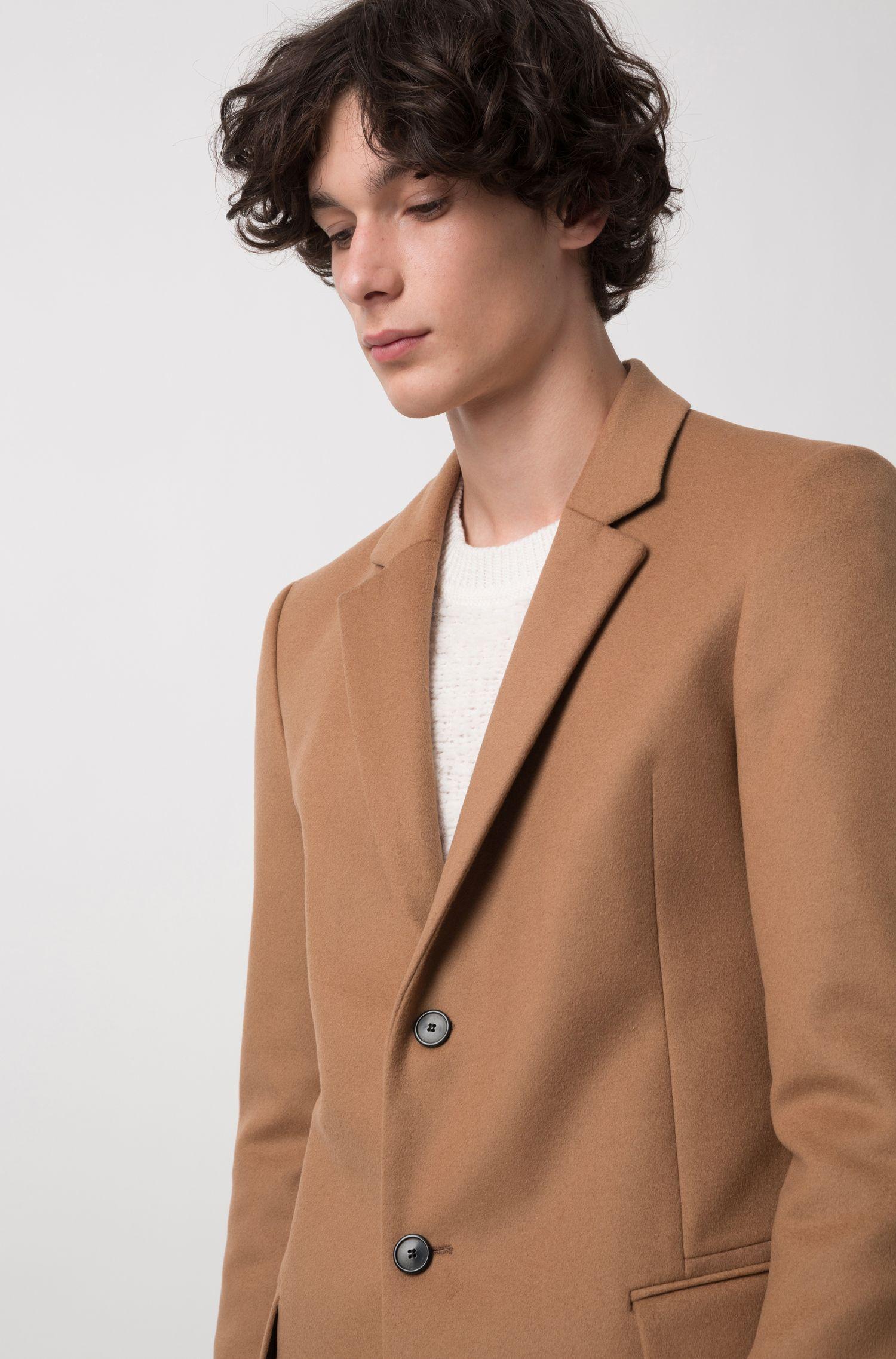 Americana extra slim fit en lana virgen con cachemira, Marrón