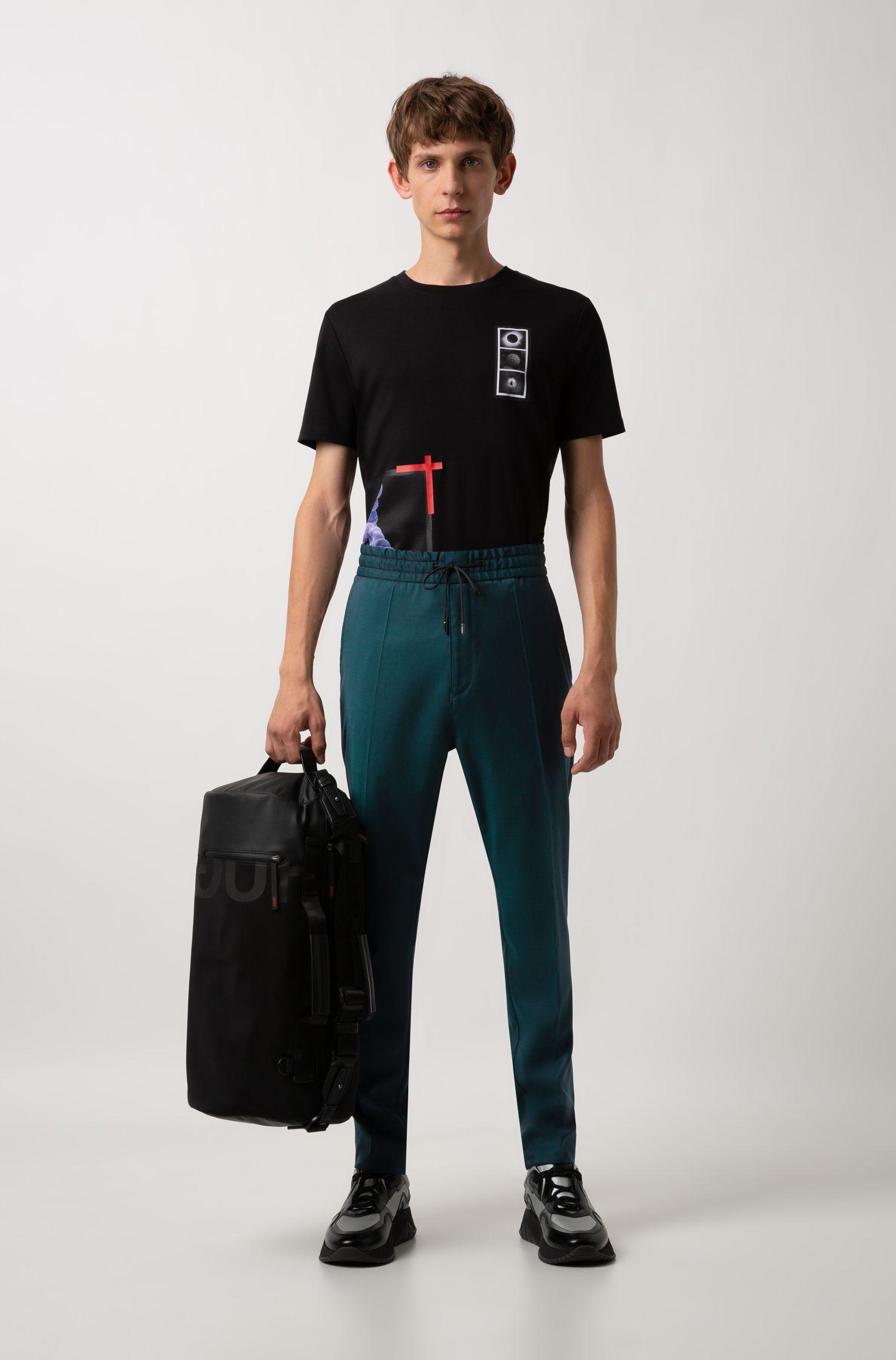 Relaxed-fit T-shirt van katoen met reliëfprint, Zwart