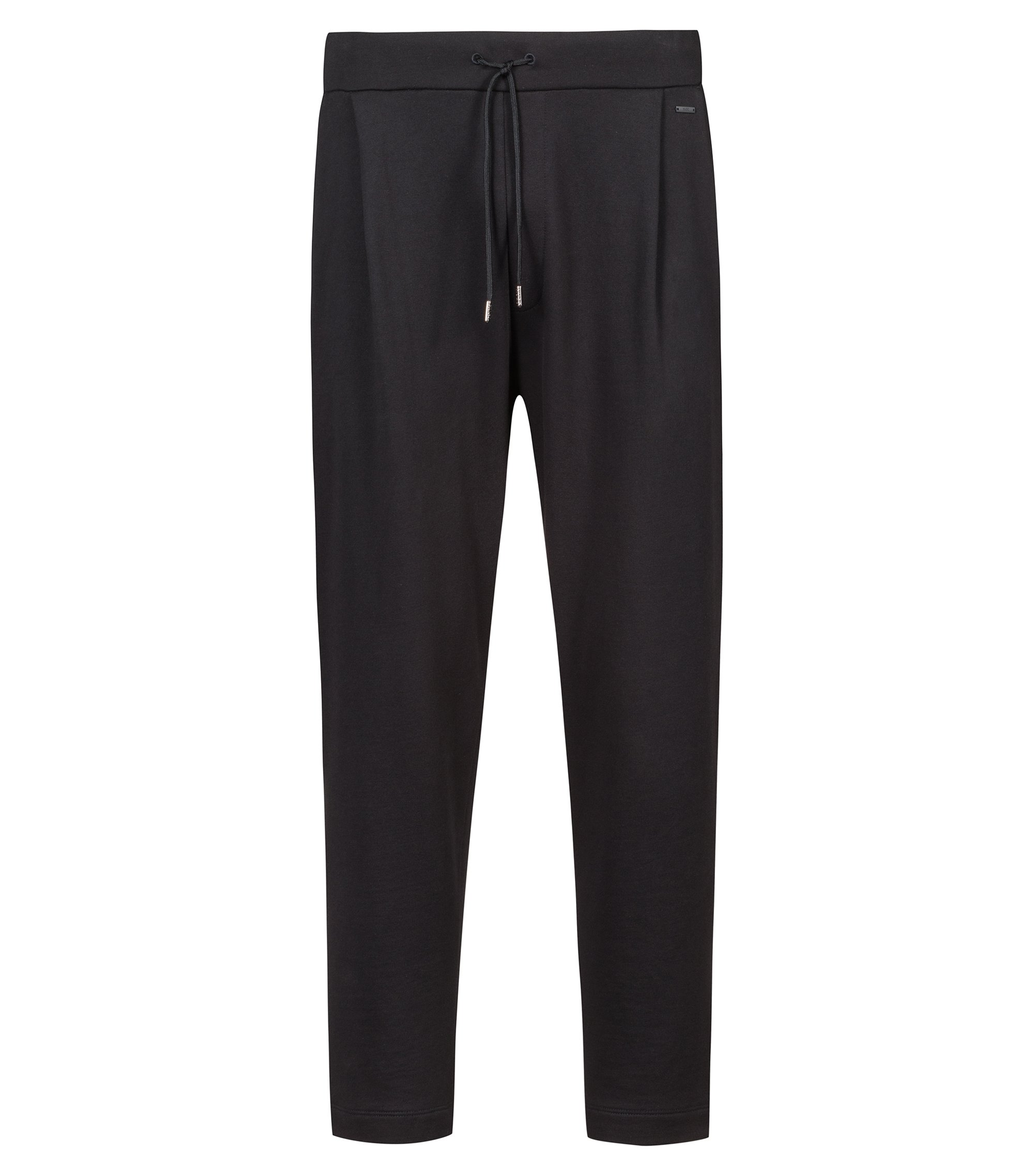 Regular-fit cropped trousers in French terry, Noir