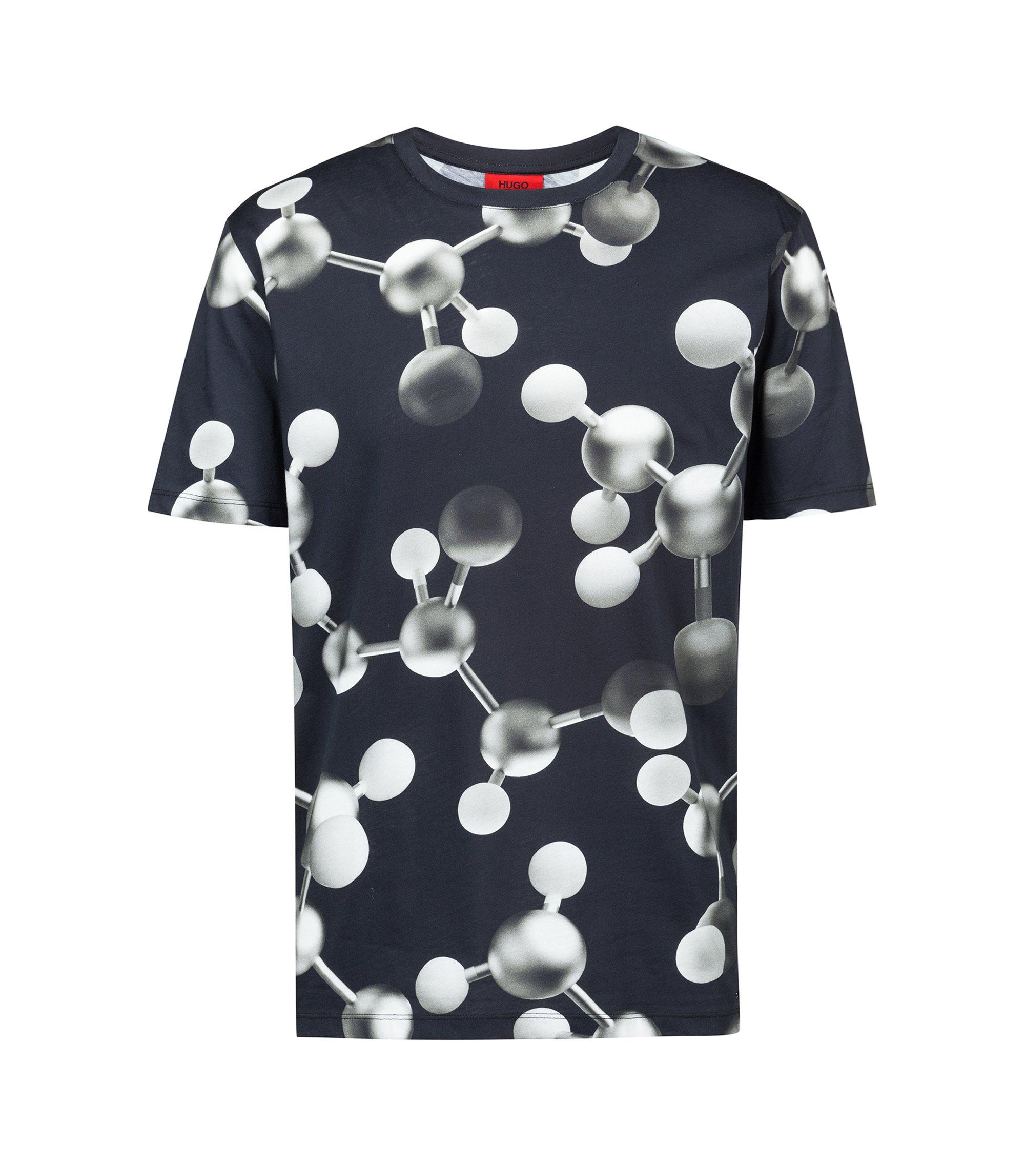 T-shirt à col ras-du-cou en coton à motif atomes imprimé, Fantaisie