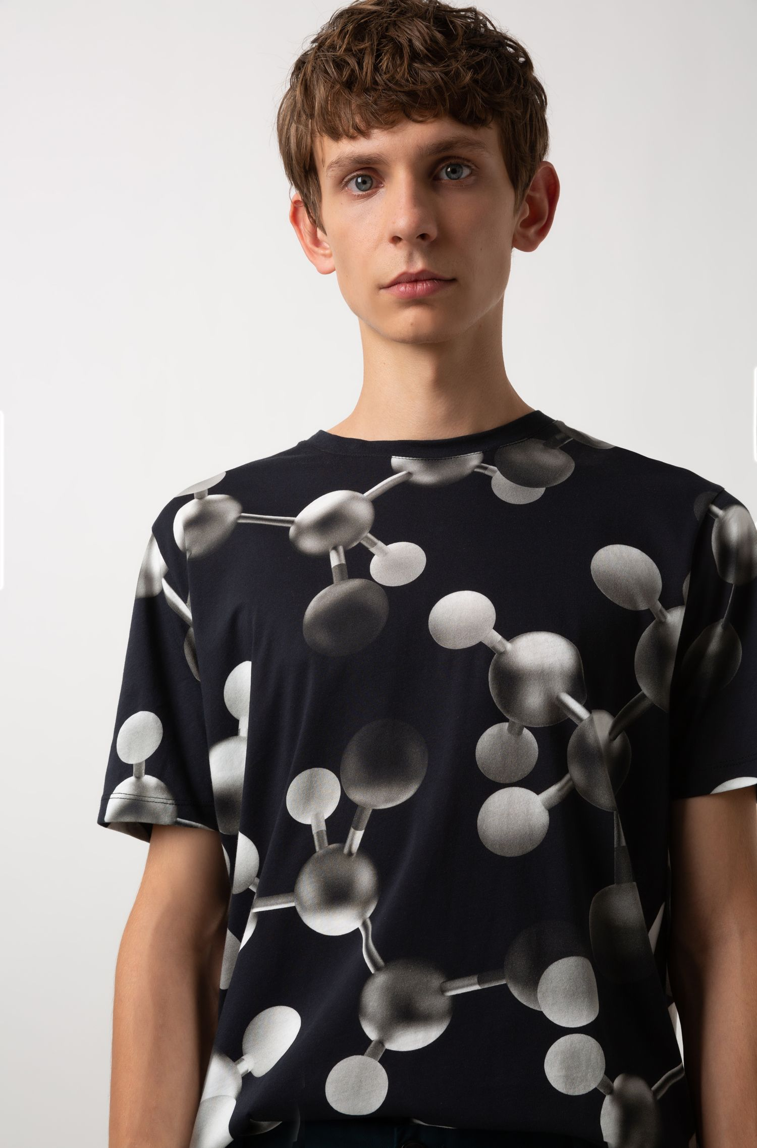 Crew-neck cotton T-shirt with printed atomic motif, Patterned