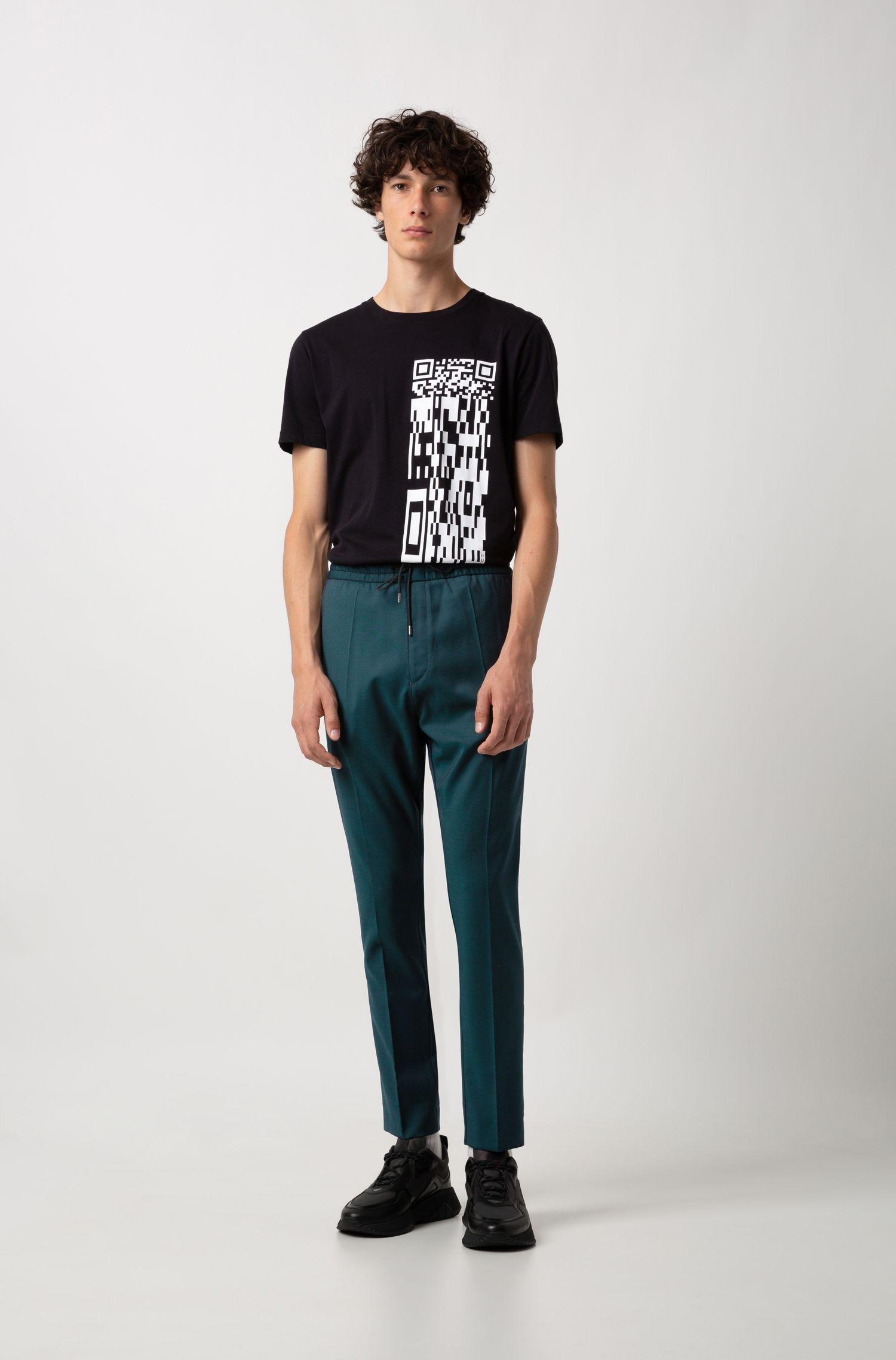 T-shirt a girocollo in cotone con codice QR, Nero