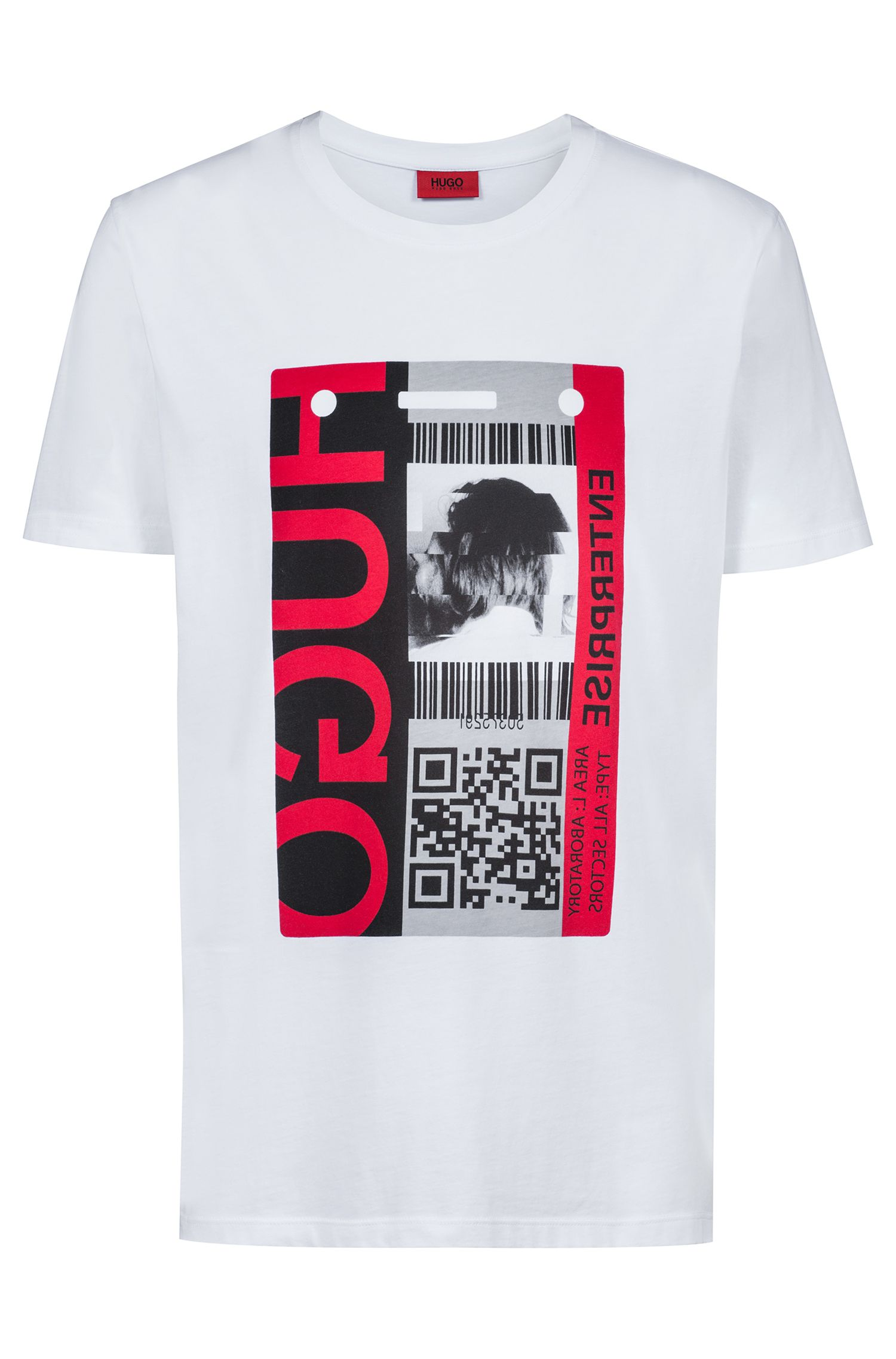Crew-neck jersey T-shirt with QR-code graphic, White