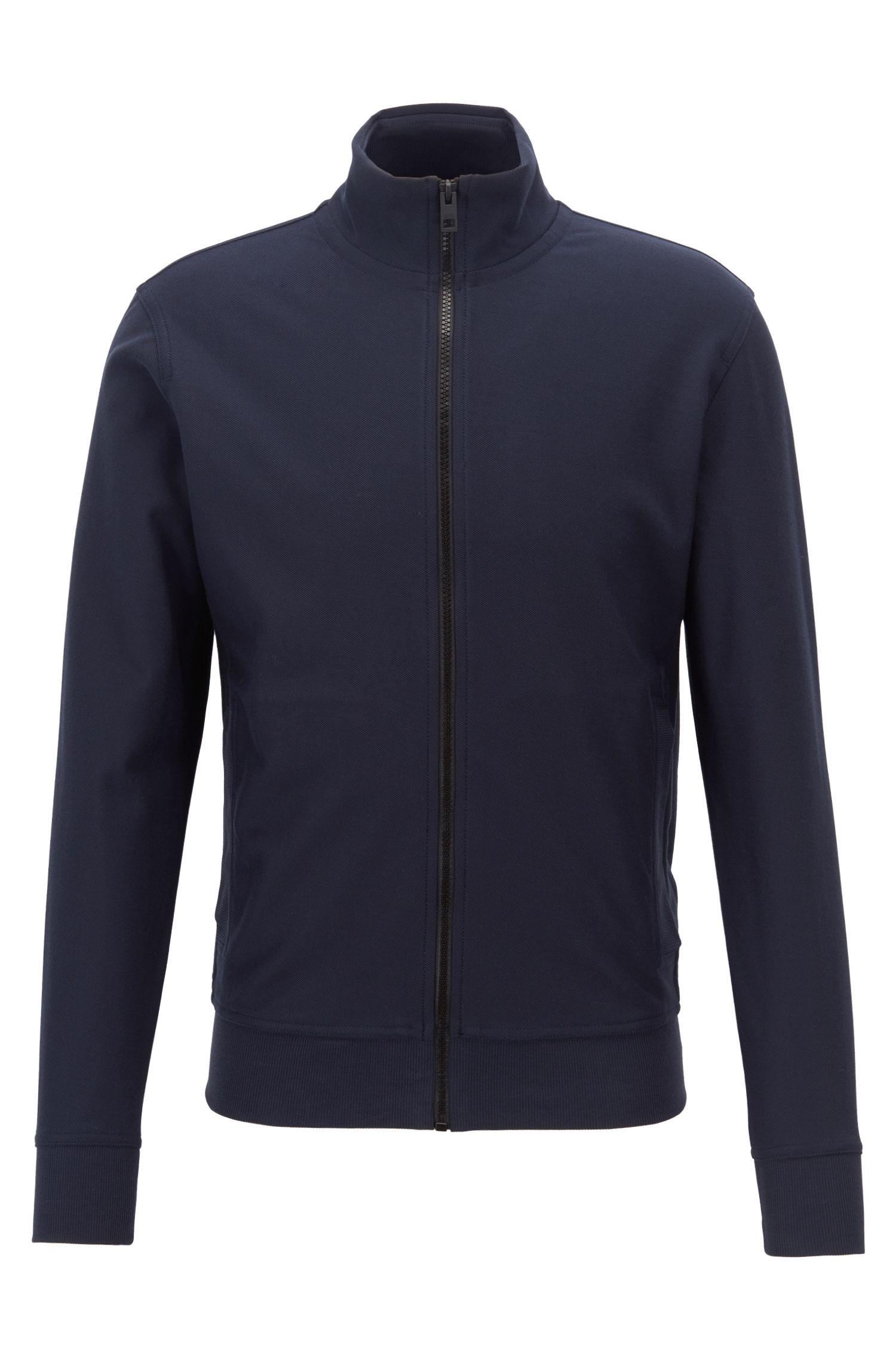 Veste zippée en jersey de twill de coton, Bleu foncé