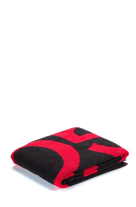 Beach towel in cotton terry with large-scale logo, Black