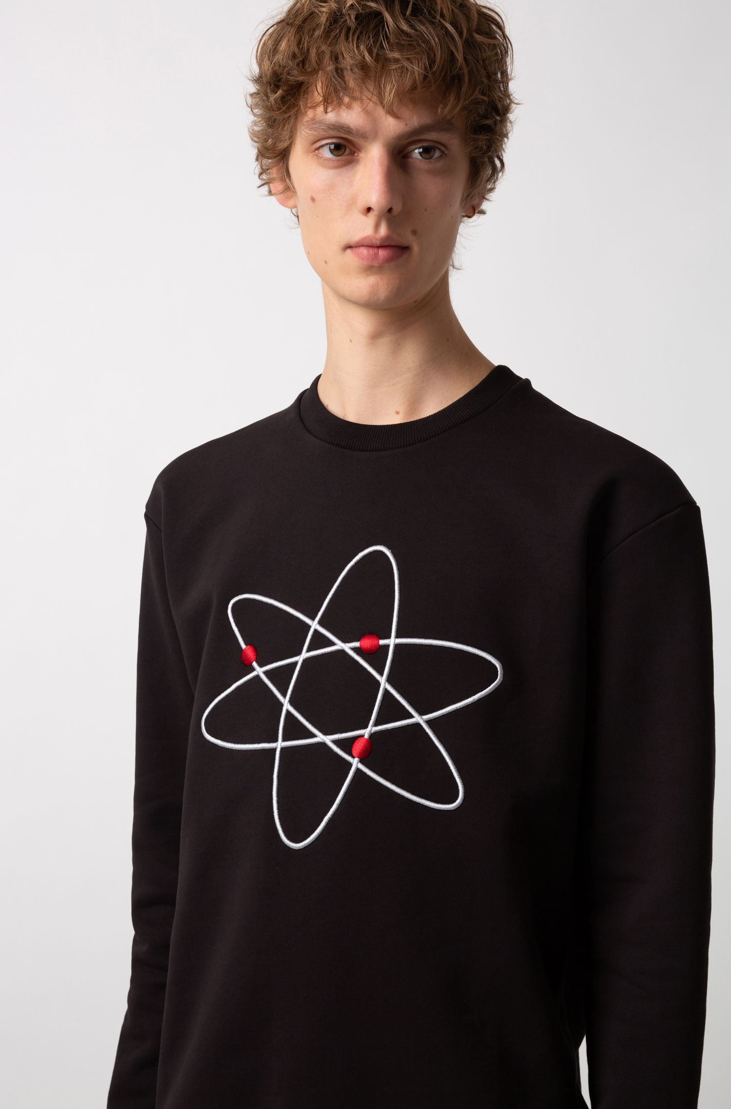 Oversized-fit fleece sweatshirt with atom embroidery, Black