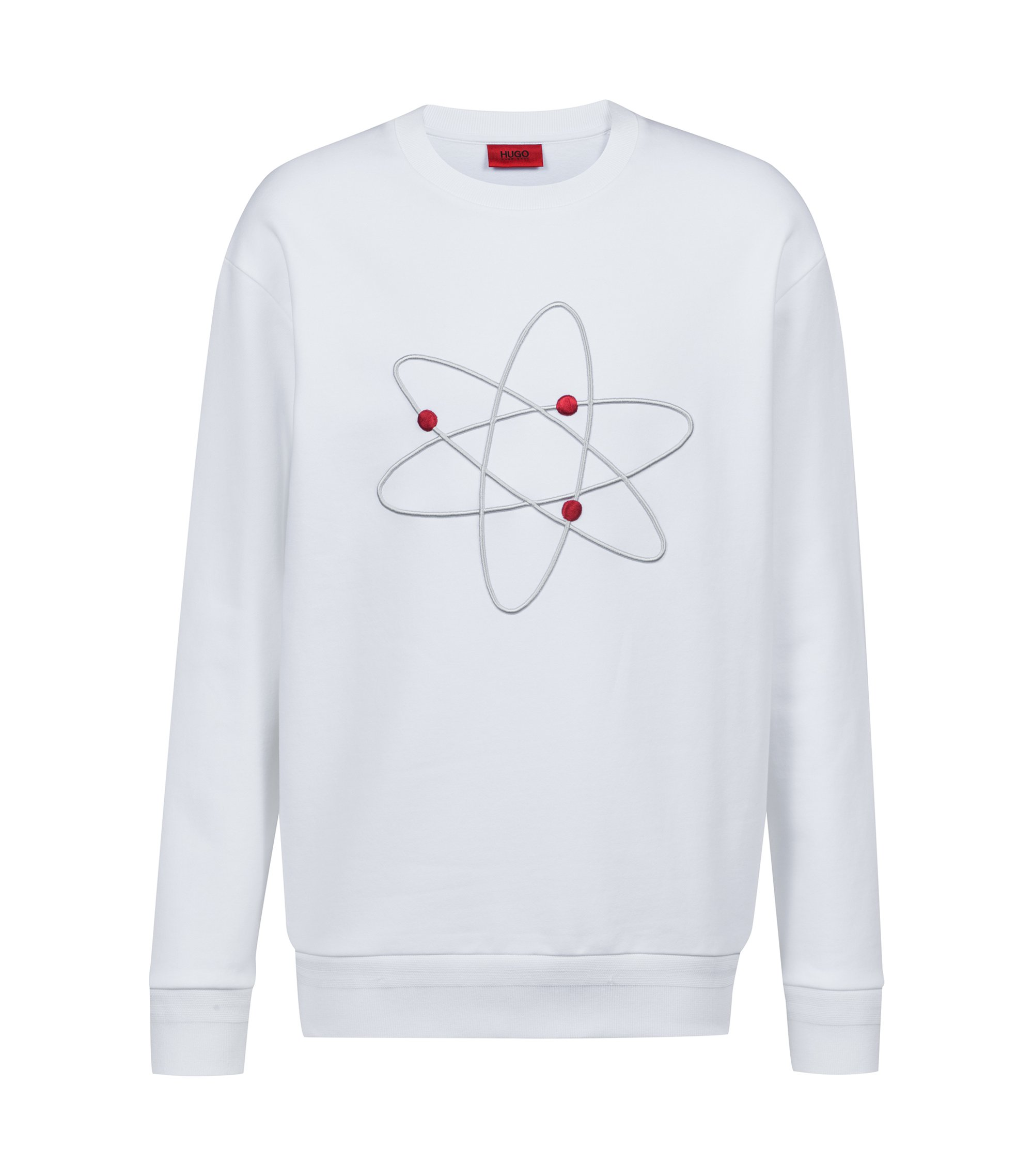 Oversized-fit fleece sweatshirt with atom embroidery, White