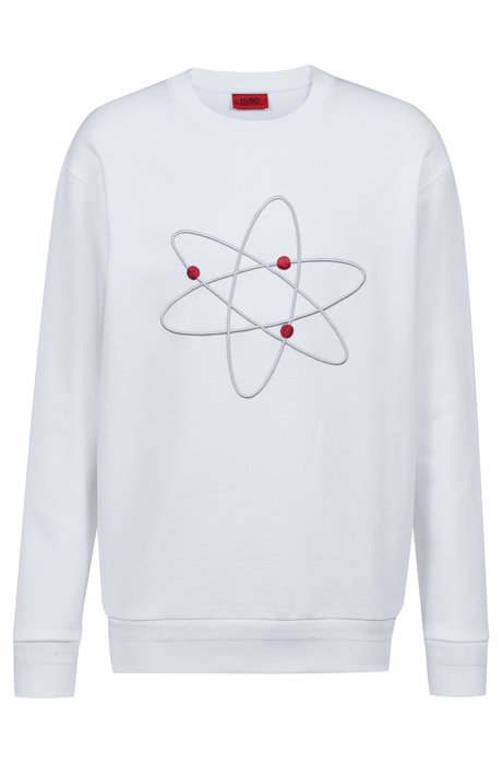 Oversized Sweatshirt aus Fleece mit Atom-Stickerei, Weiß