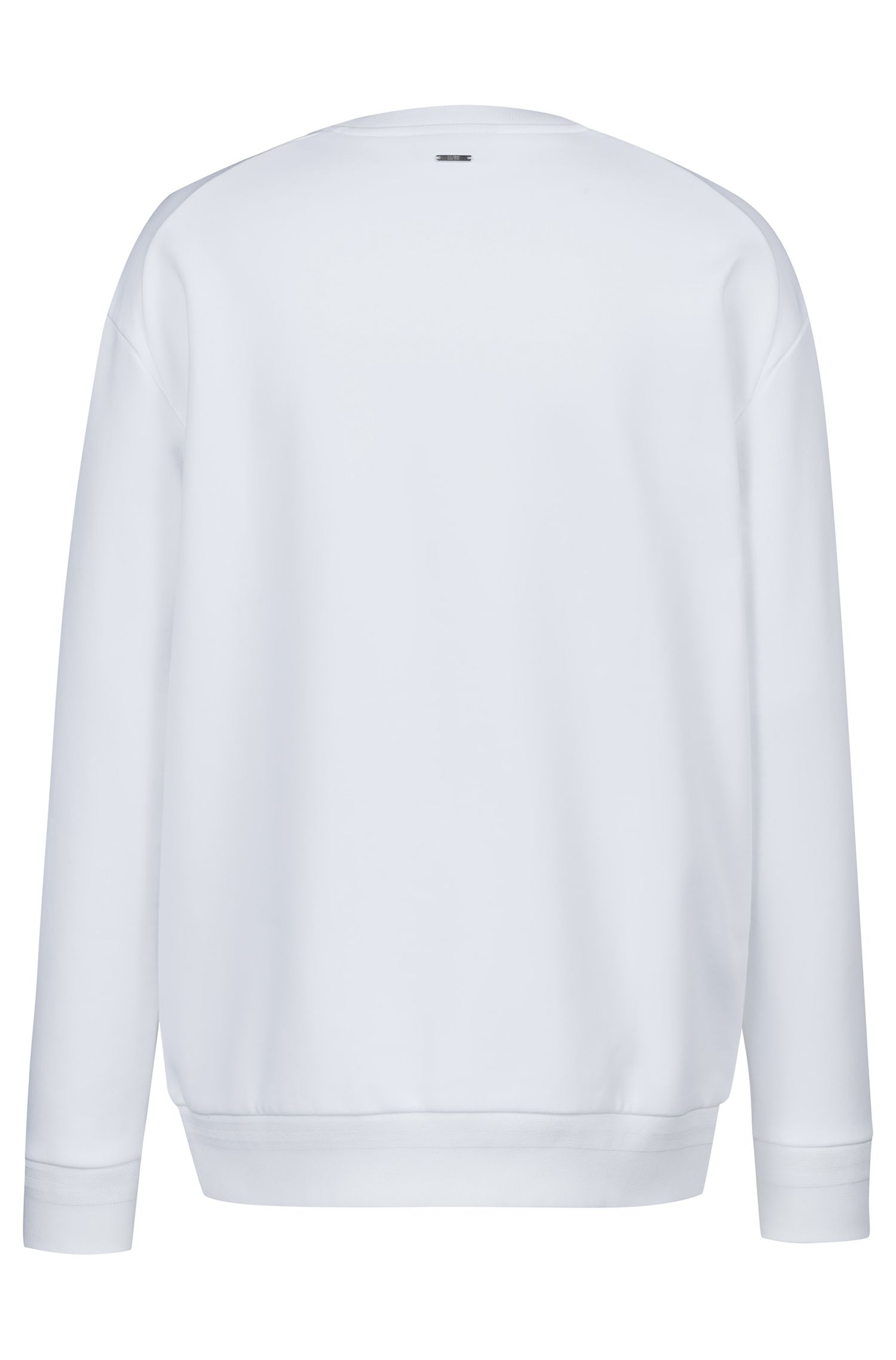Sweat en polaire Oversized Fit à motif atomes brodé, Blanc