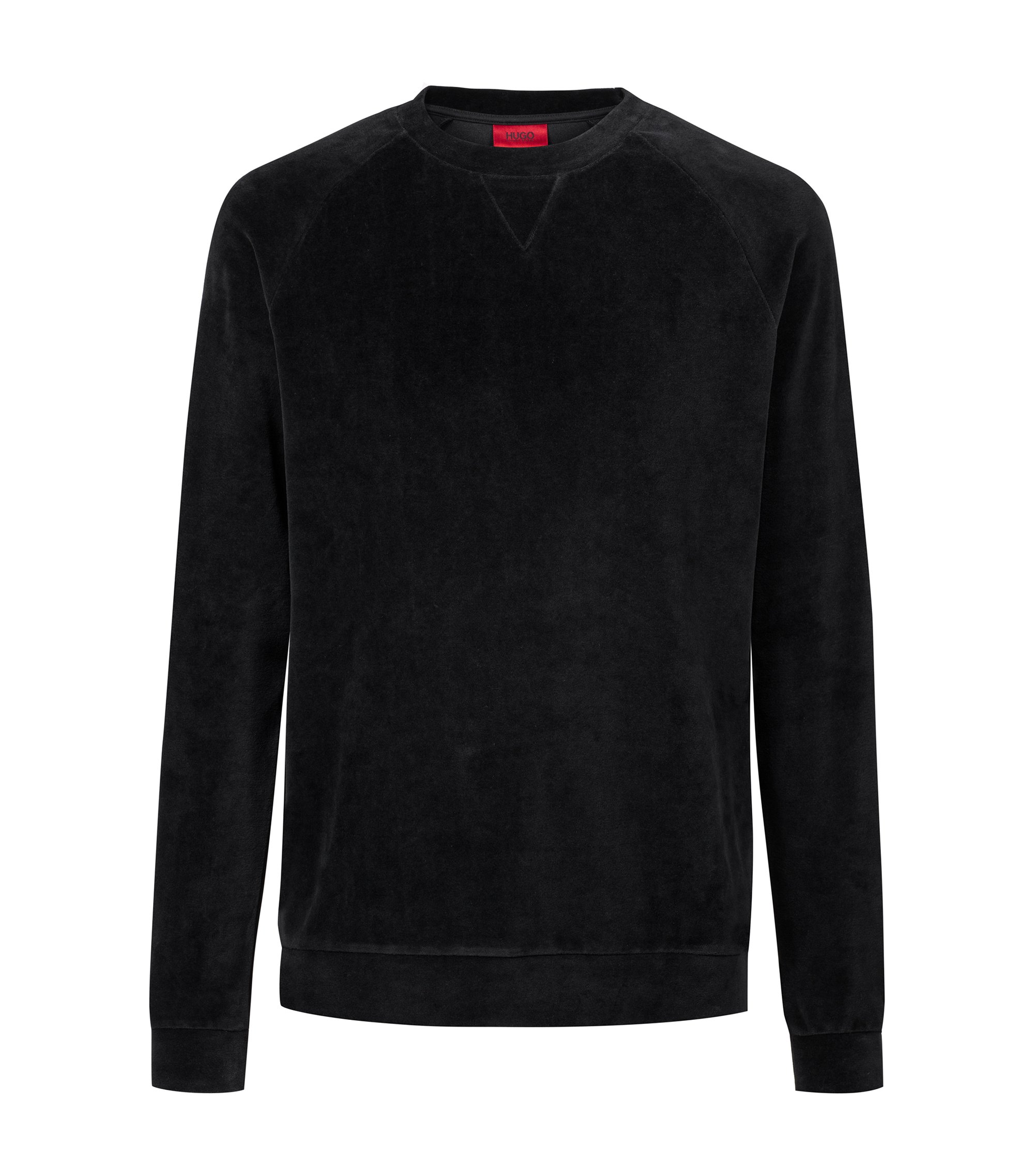 Oversized-fit sweatshirt in cotton-blend velour, Black