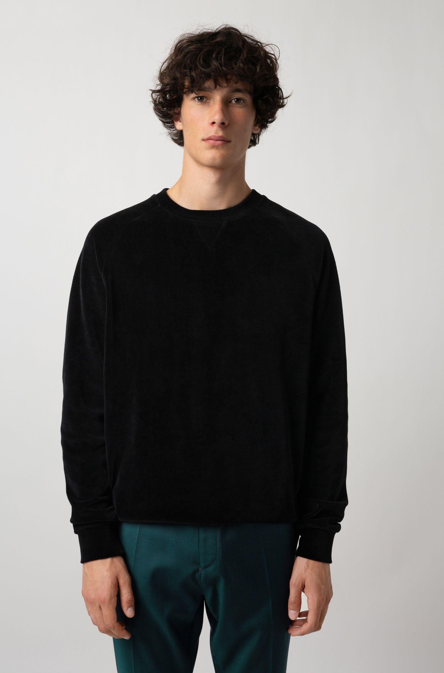 Oversized-fit sweatshirt in cotton-blend velour, Black