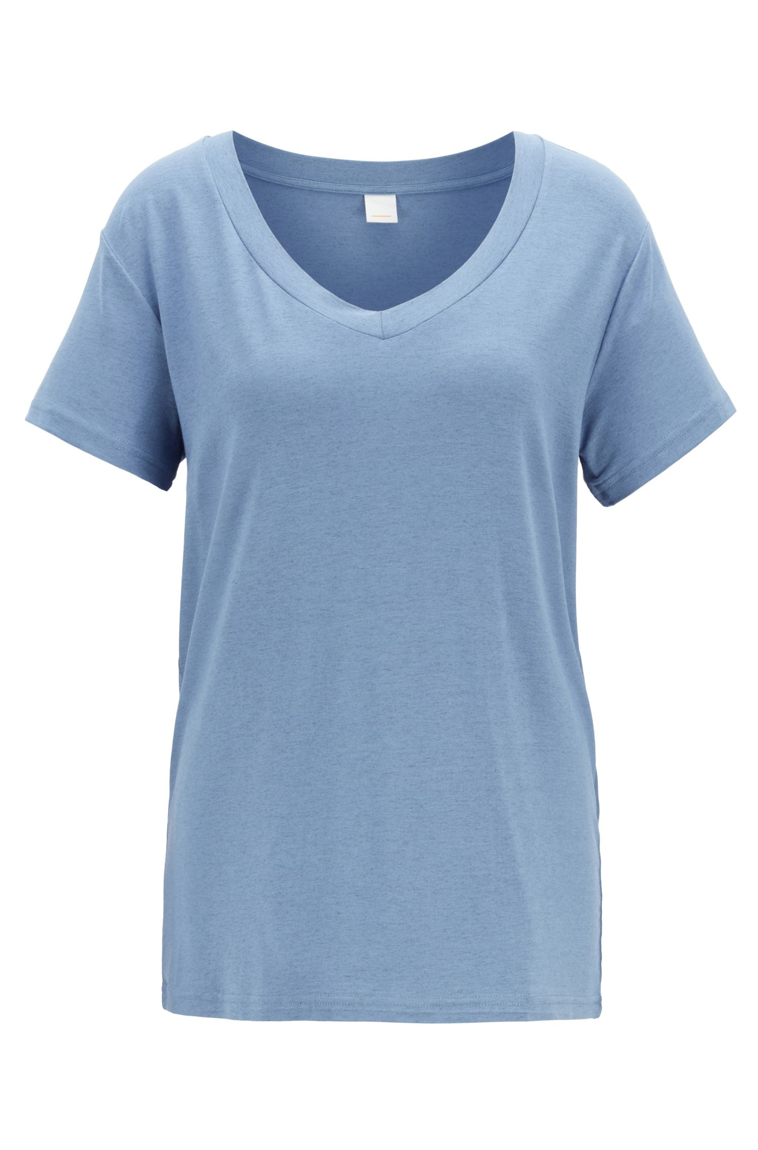 Oversized-fit melange T-shirt with V neckline, Blue