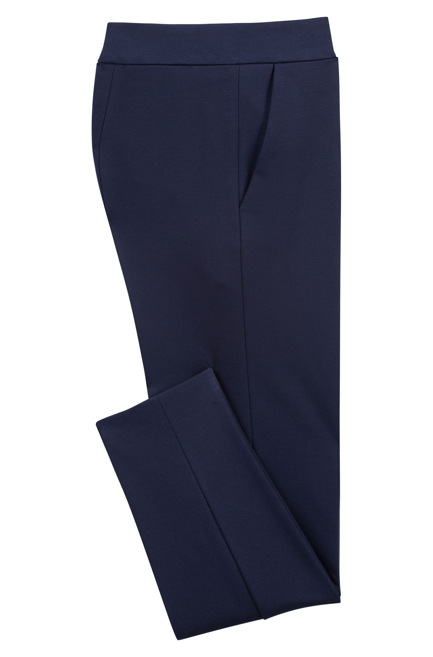 Slim-Fit Hose aus Stretch-Jersey in Cropped-Länge, Blau