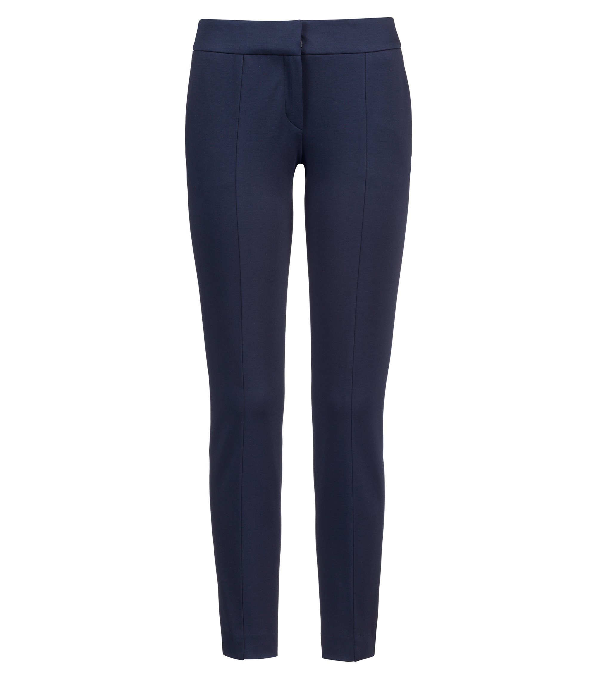 Slim-fit cropped trousers in stretch jersey, Blue