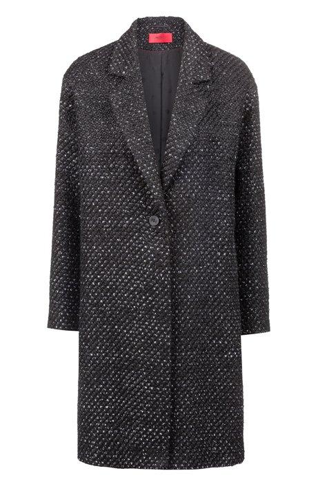 Relaxed-Fit Mantel mit Knötchenstruktur und durchgehendem Innenfutter, Gemustert