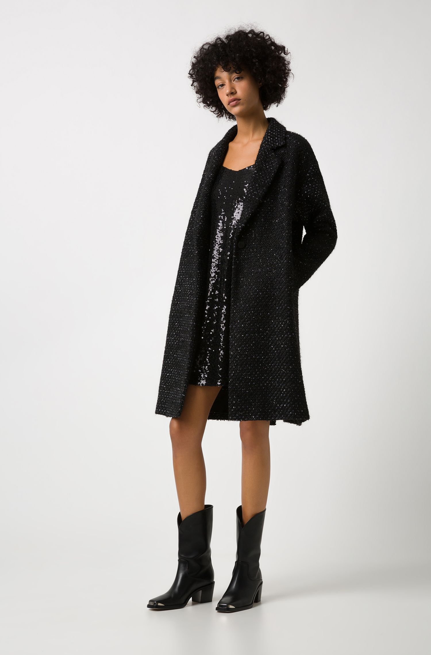 Relaxed-fit coat with bubble structure and full lining, Patterned