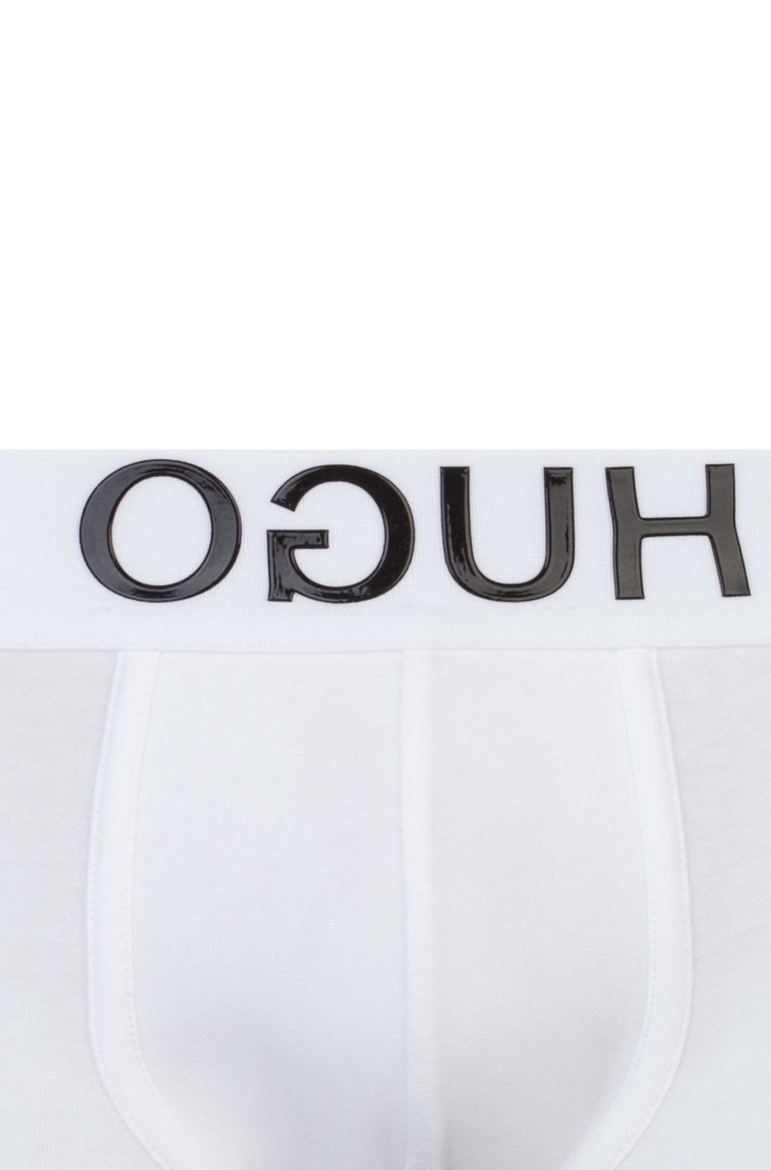 Stretch-cotton trunks with reverse-logo waistband, White
