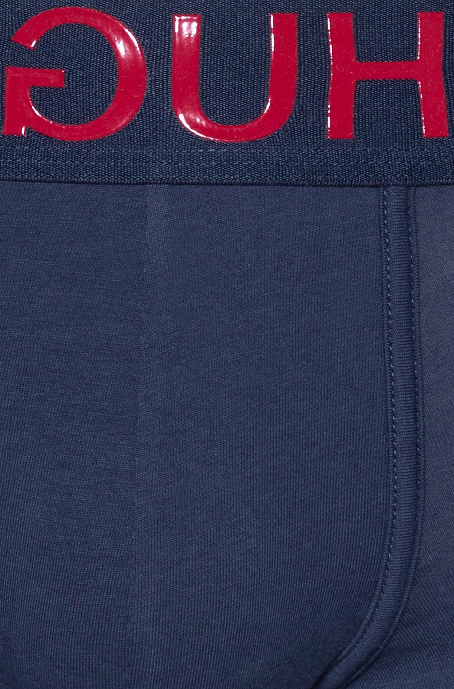 Boxer court en coton stretch, avec logo inversé à la taille, Bleu foncé