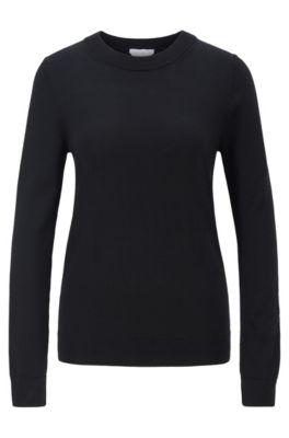 Pullover aus Schurwolle mit Rundhalsausschnitt, Schwarz
