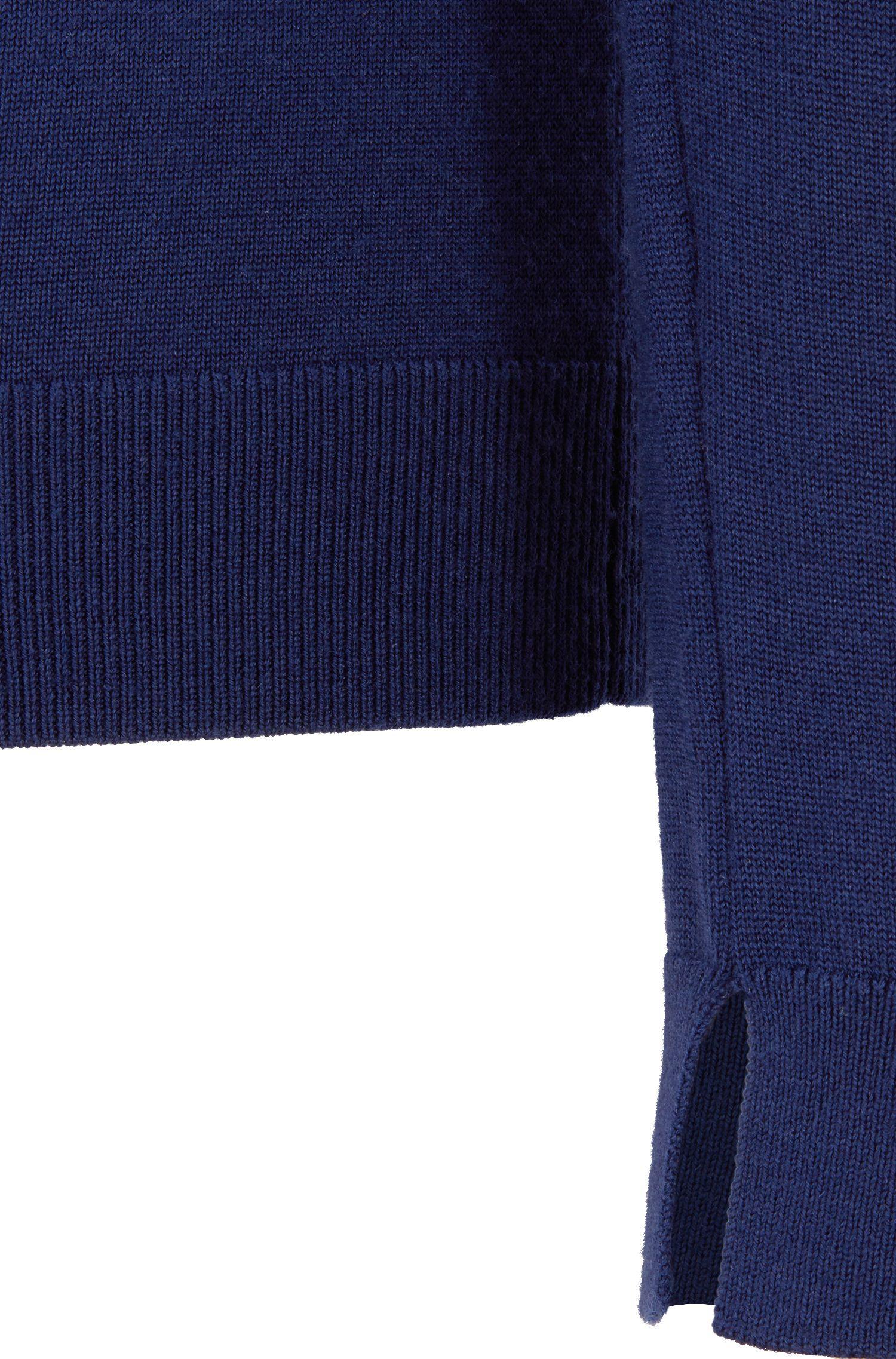 Trui van scheerwol met ronde hals, Donkerblauw