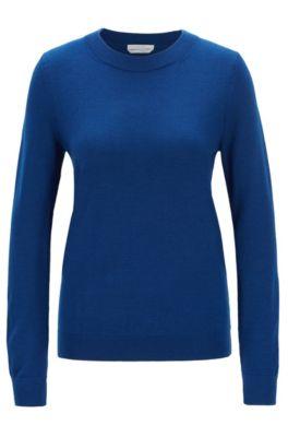 Jersey de cuello redondo en lana virgen, Azul