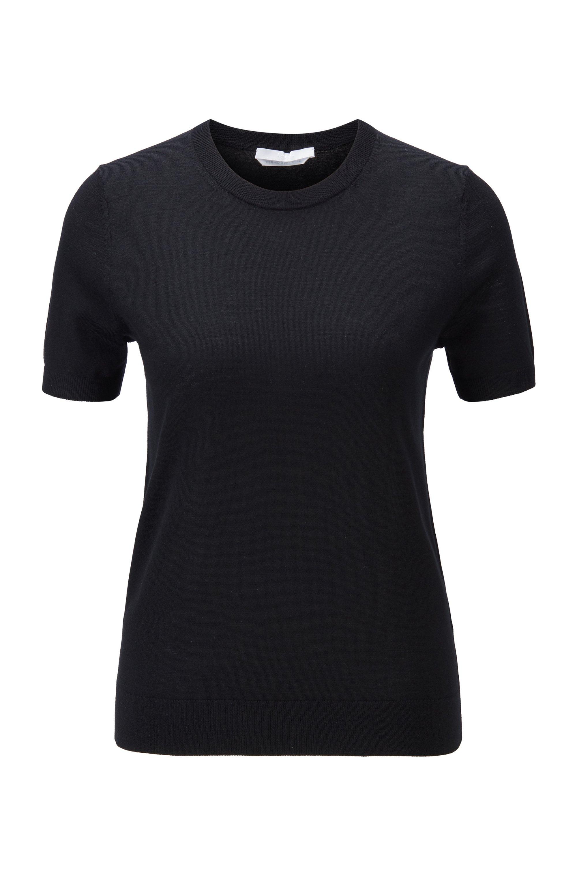 Kurzarm-Pullover aus Schurwolle, Schwarz