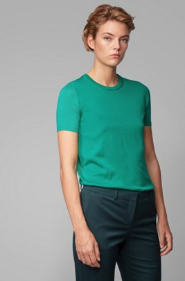Short-sleeved sweater in virgin wool, Green