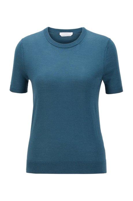 Maglione a maniche corte in lana vergine, Blu scuro