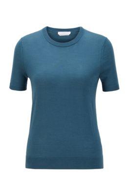 Pull à manches courtes en laine vierge, Bleu foncé