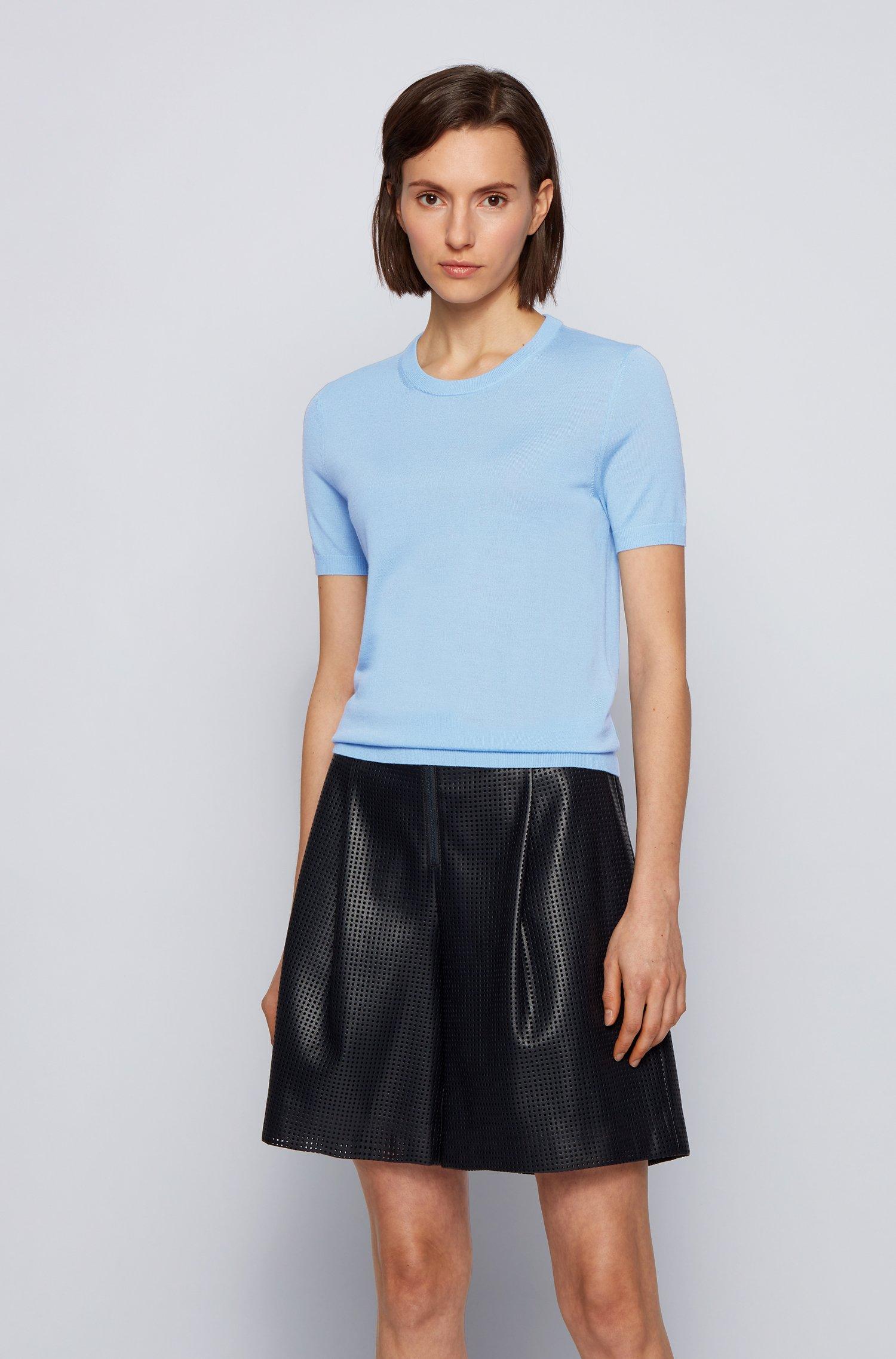 Short-sleeved sweater in virgin wool, Light Blue